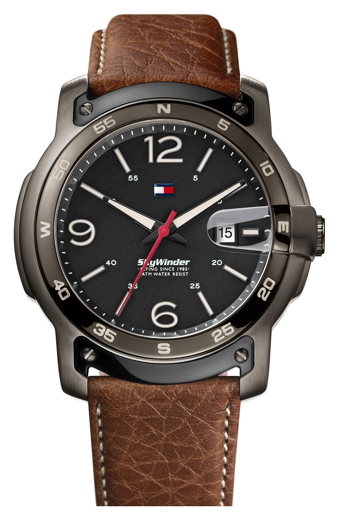 Alternate Image 1 Selected - Tommy Hilfiger Round Leather Strap Watch, 47mm