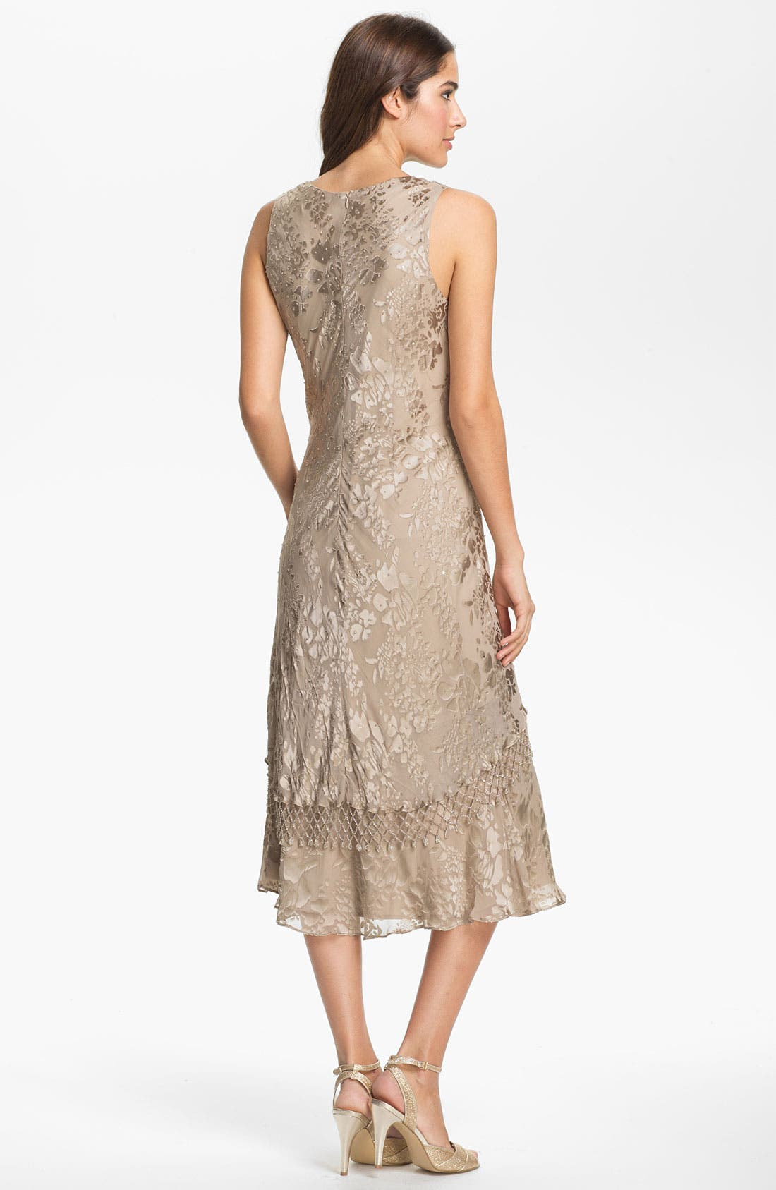 Alternate Image 2  - Alex Evenings Lattice Trim Burnout Chiffon Sheath Dress