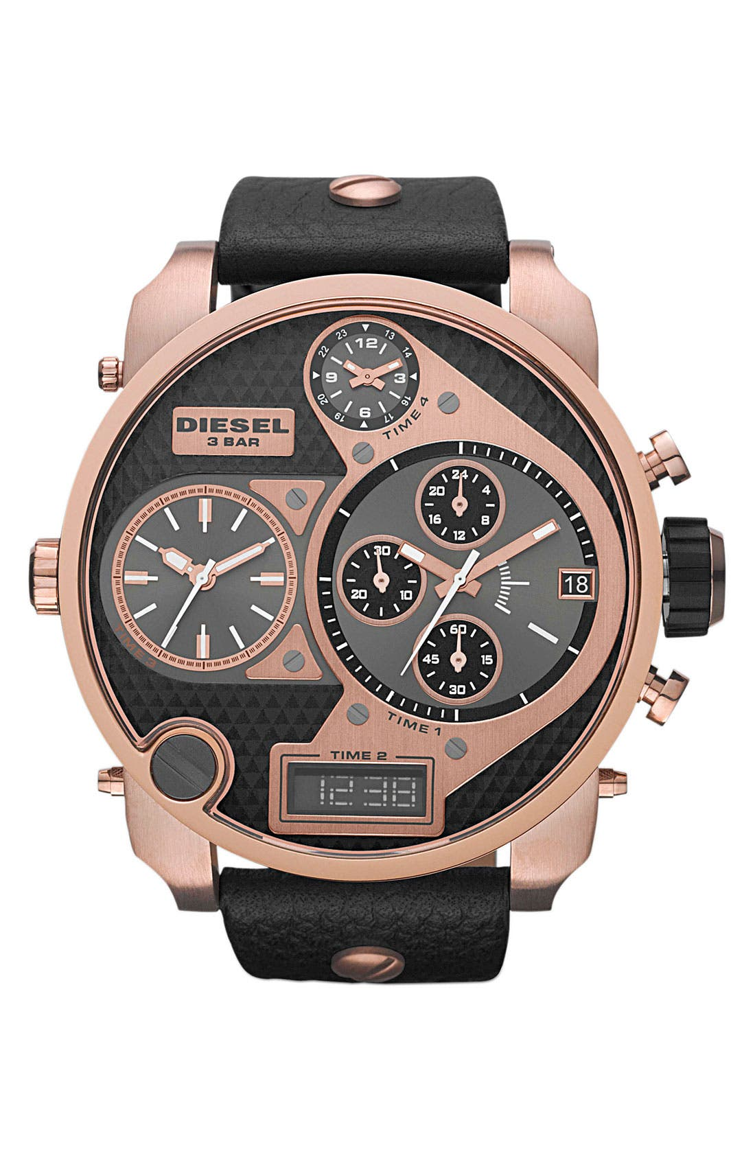 Alternate Image 1 Selected - DIESEL® 'Mr. Daddy' Leather Strap Watch, 58mm