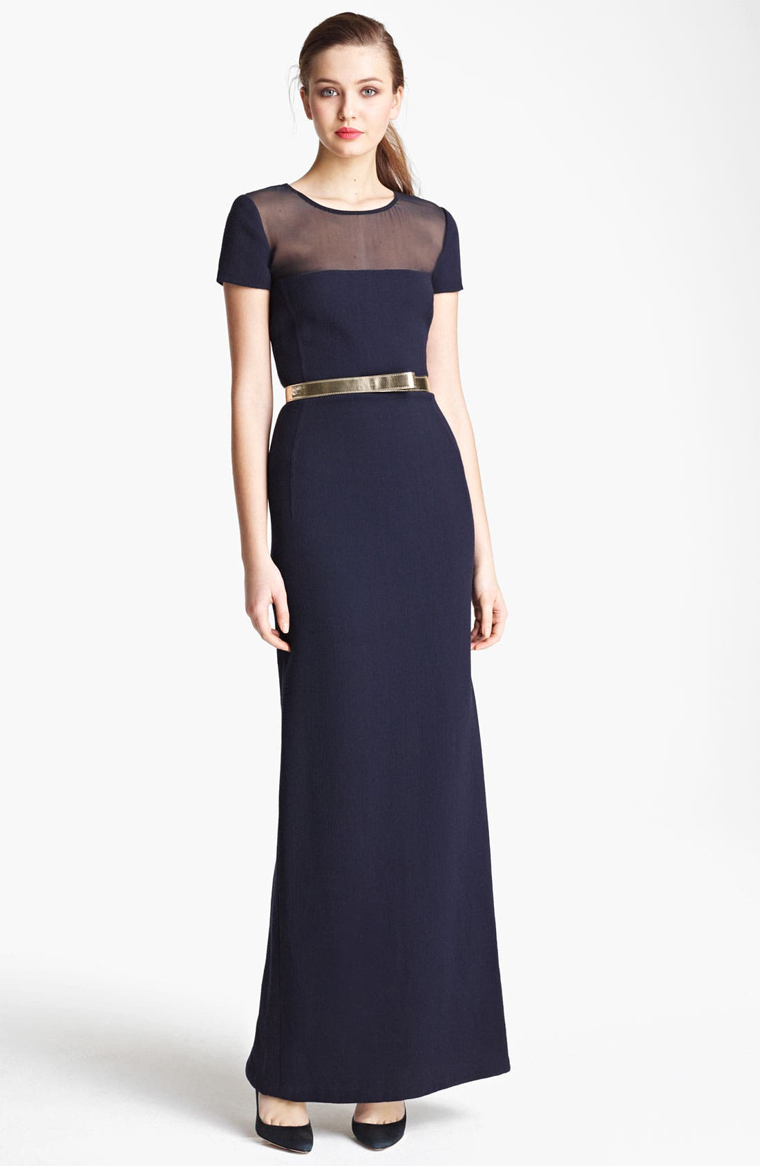 Main Image - Oscar de la Renta Illusion Bodice Gown