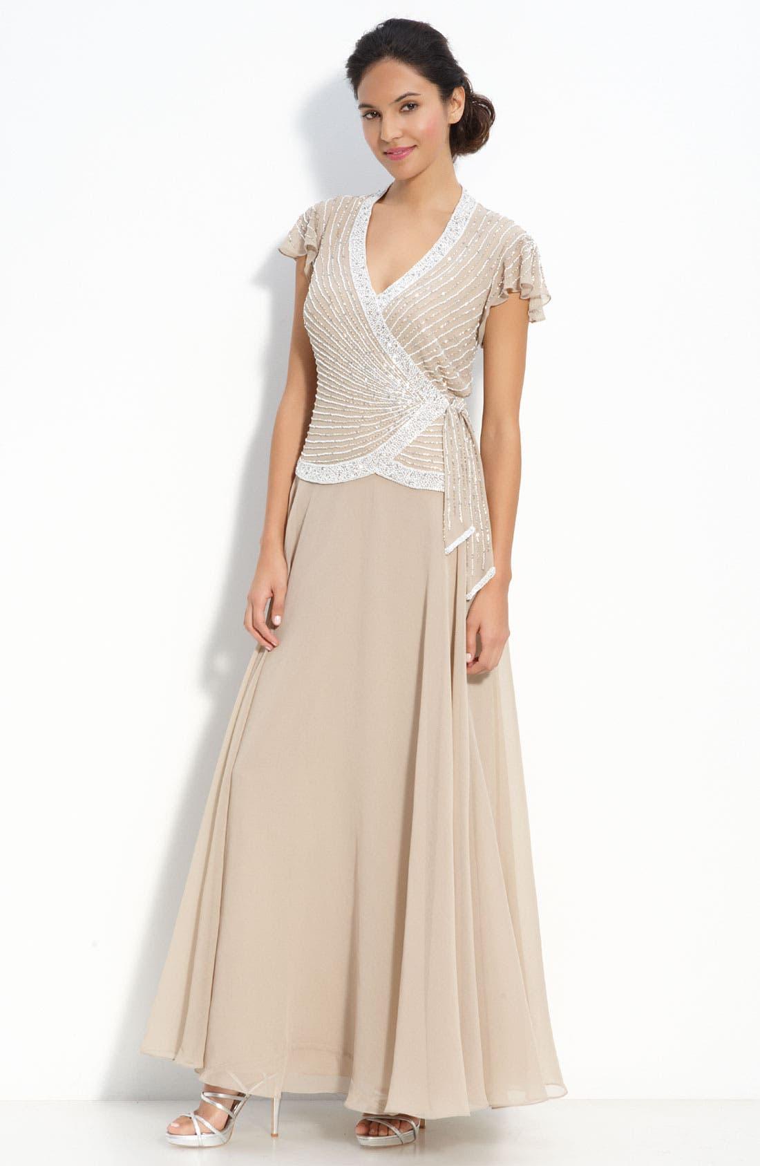 Main Image - J Kara Beaded Mock Two-Piece Crepe Gown (Petite)