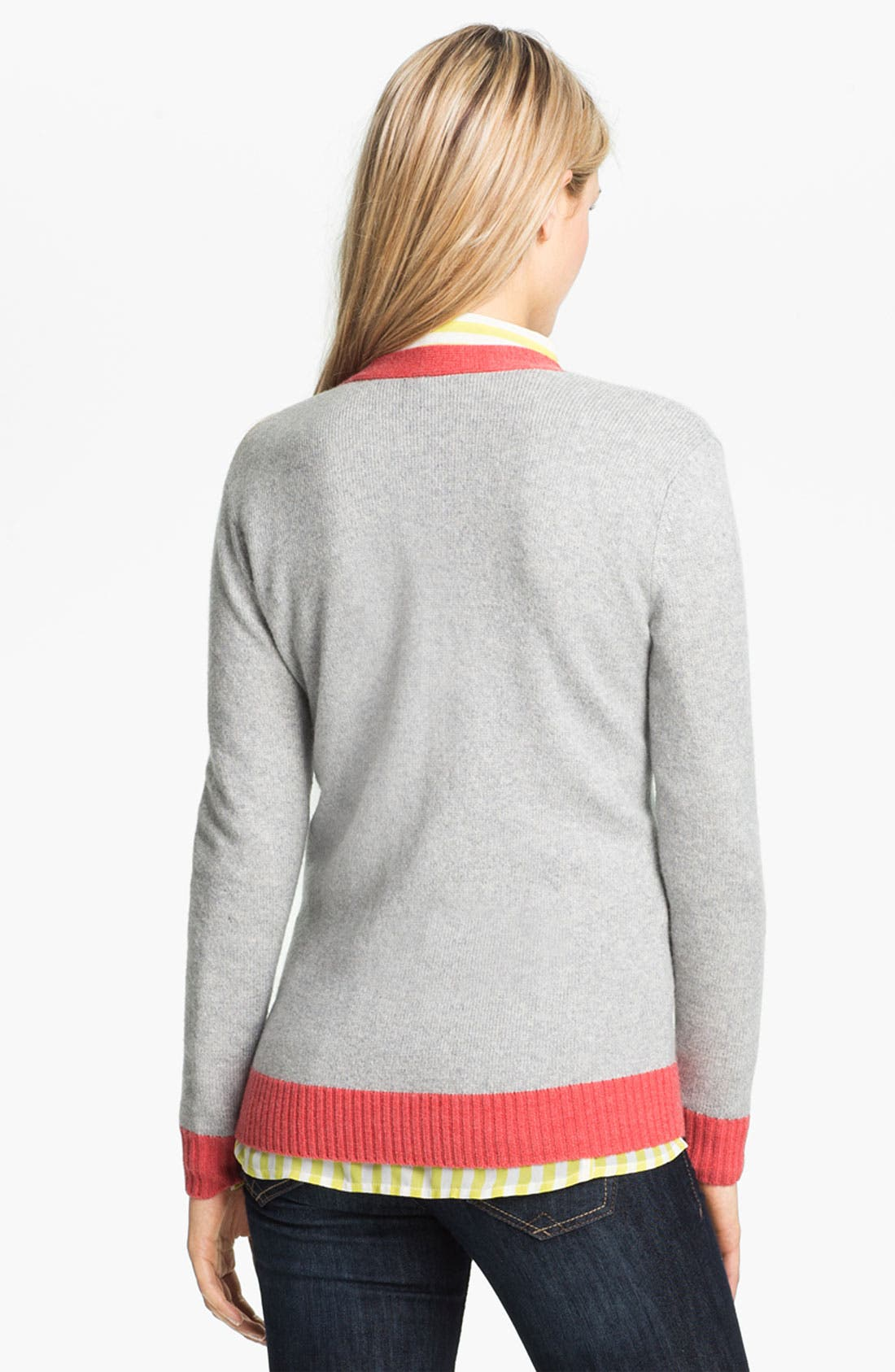 Alternate Image 2  - Caslon Tipped V-Neck Cardigan (Petite)