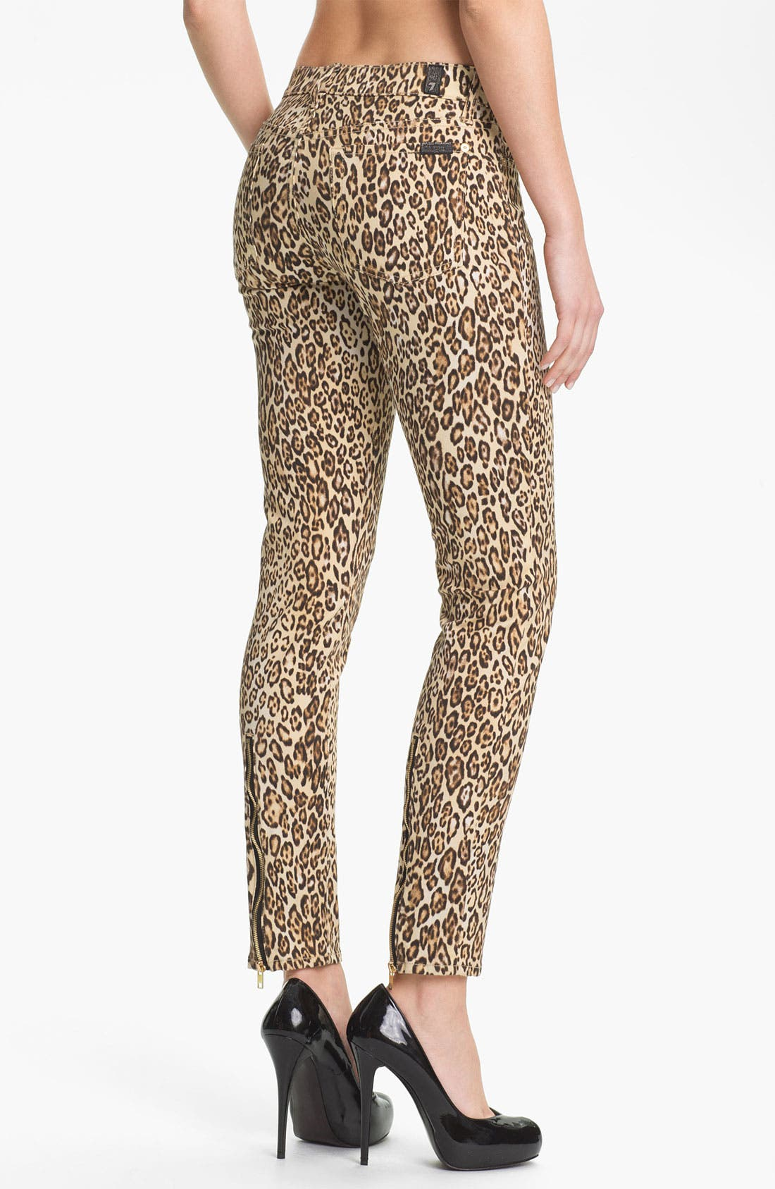 Alternate Image 2  - 7 For All Mankind® 'The Slim Cigarette' Stretch Jeans (Cheetah Print)
