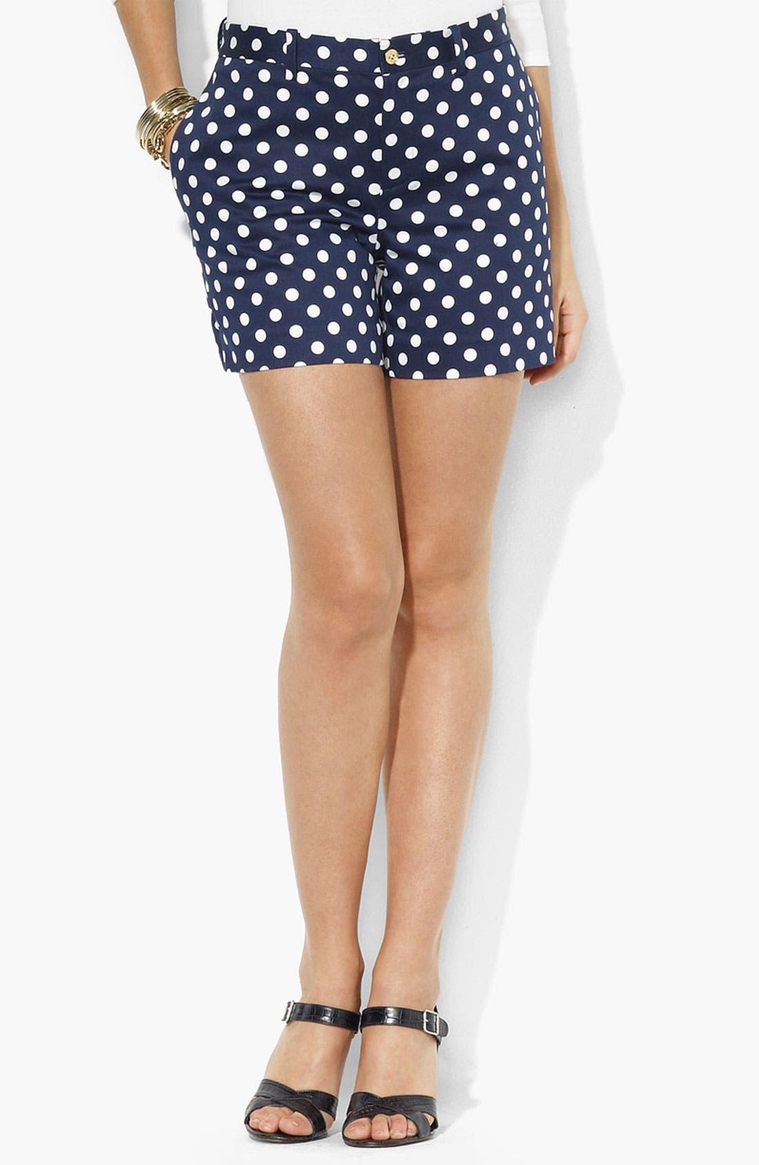 Alternate Image 1 Selected - Lauren Ralph Lauren Polka Dot Shorts (Petite)