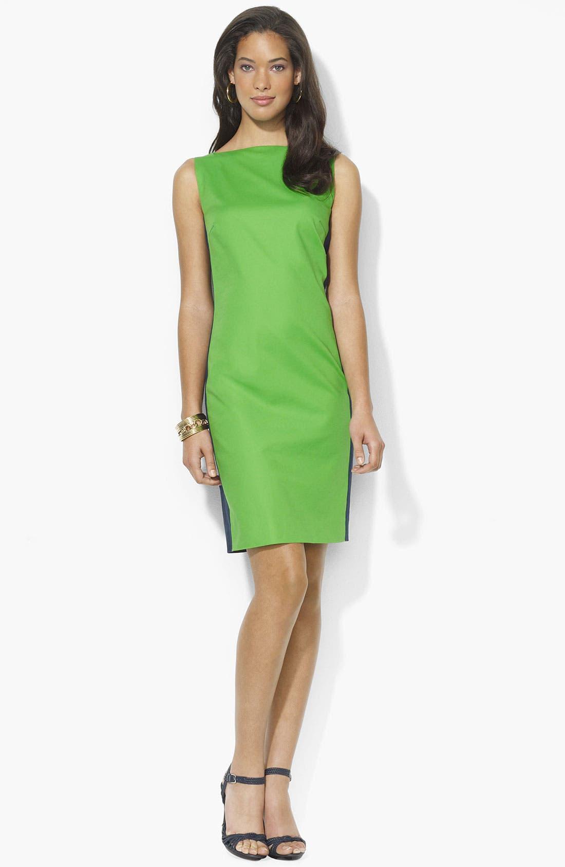 Main Image - Lauren Ralph Lauren Colorblock Shift Dress (Petite) (Online Only)