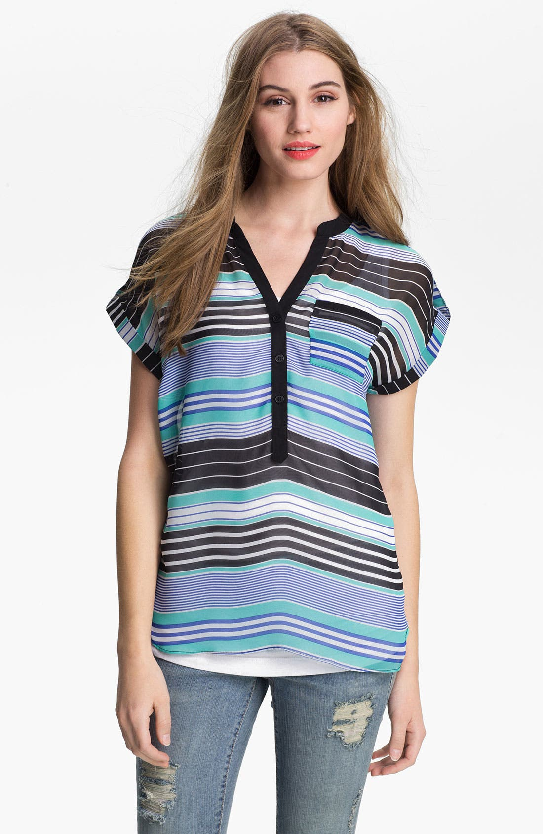 Main Image - Olive & Oak Stripe Henley Tunic
