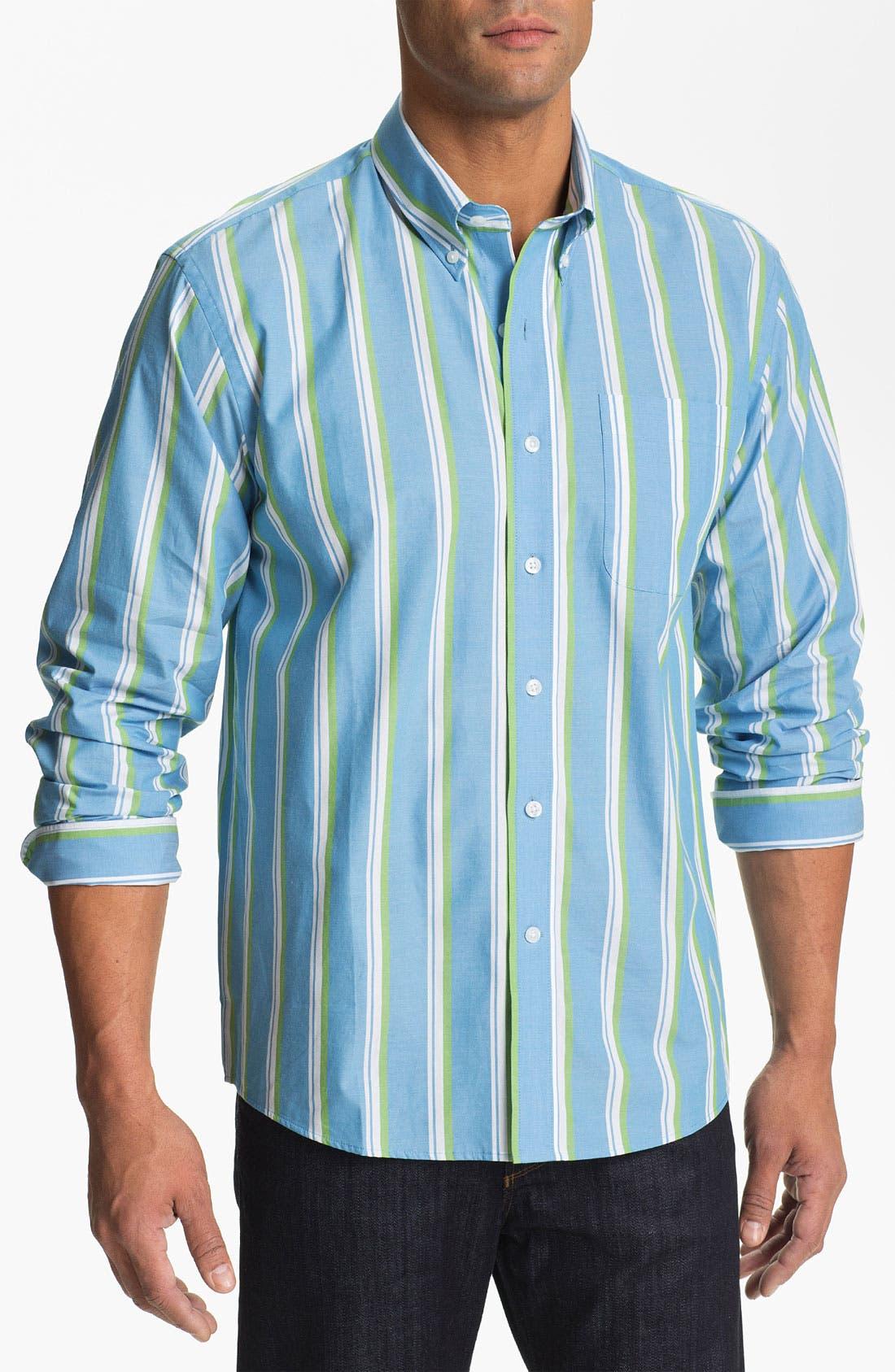 Main Image - Cutter & Buck 'Whitmire Stripe' Regular Fit Sport Shirt (Big & Tall)