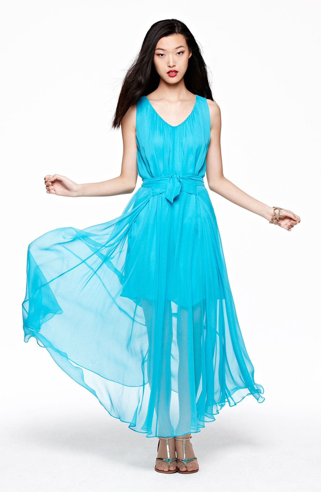 Main Image - Suzi Chin for Maggy Boutique Sheer Overlay Maxi Dress