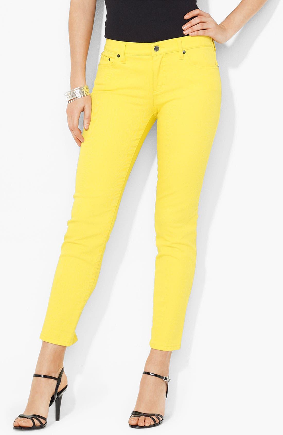 Alternate Image 1 Selected - Lauren Ralph Lauren Slimming Straight Leg Ankle Pants (Petite) (Online Exclusive)