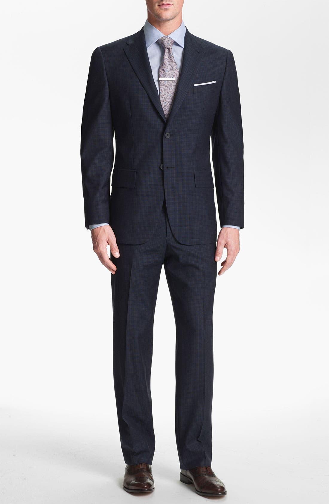 Main Image - Joseph Abboud Trim Fit Check Wool Suit