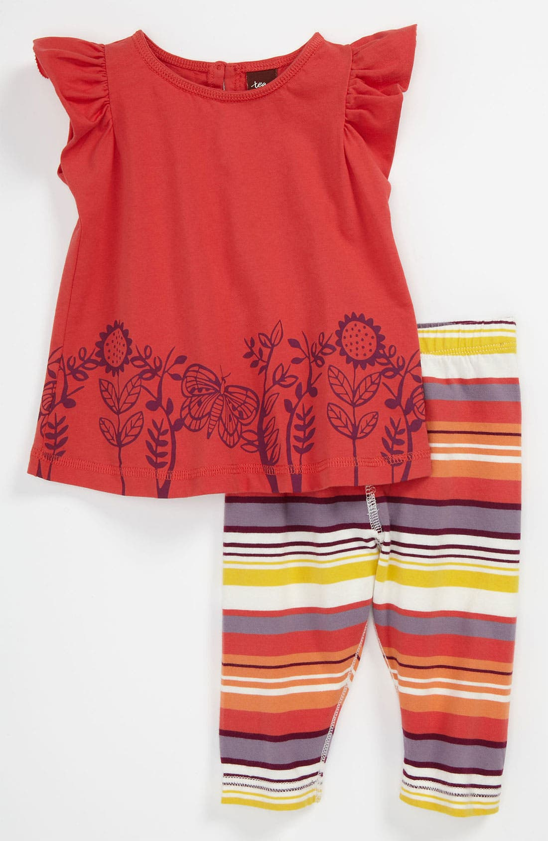 Alternate Image 1 Selected - Tea Collection 'Butterfly Stripe' Top & Leggings (Infant)