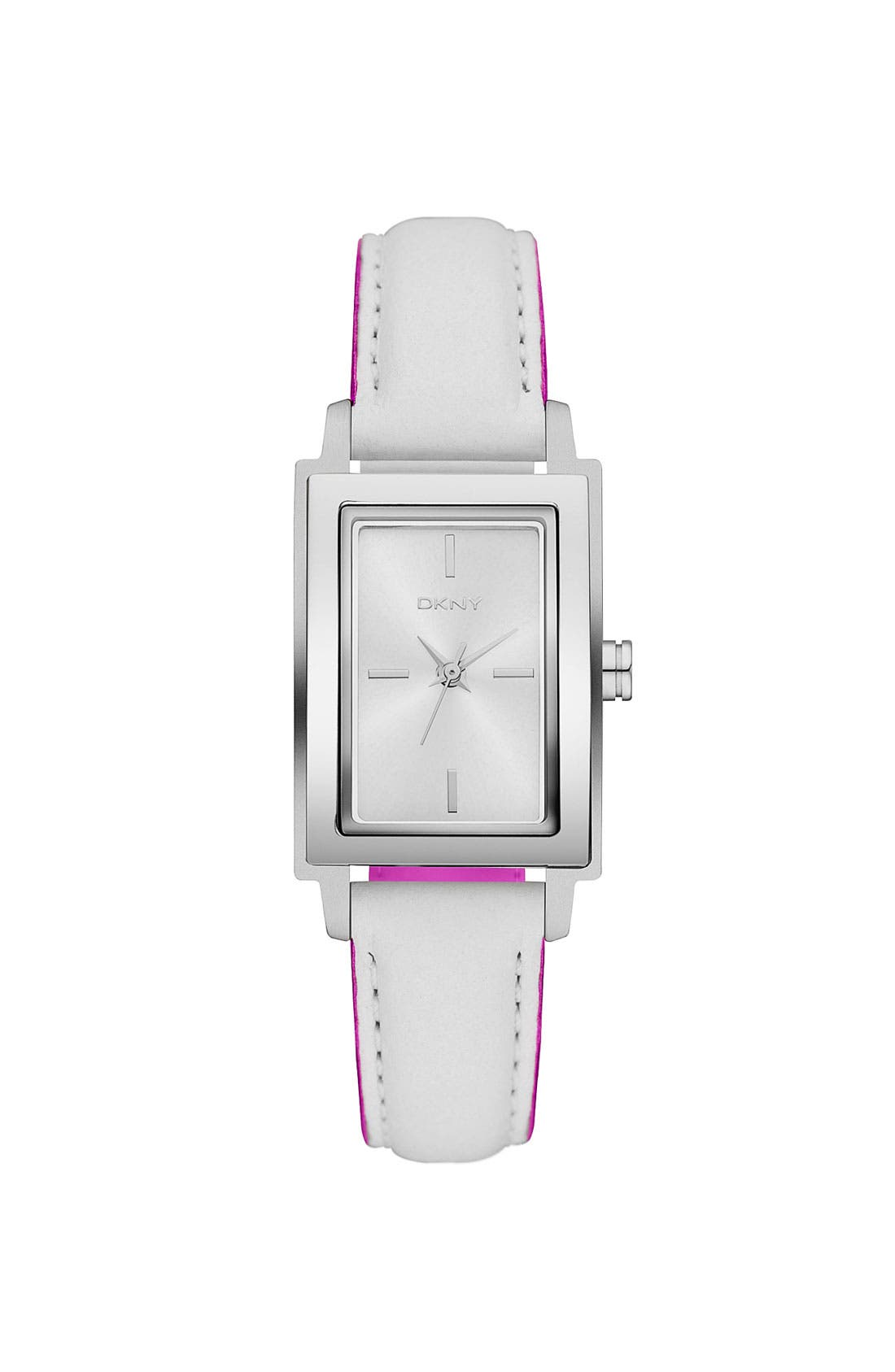 Alternate Image 1 Selected - DKNY Rectangular Leather Strap Watch, 23mm x 28mm