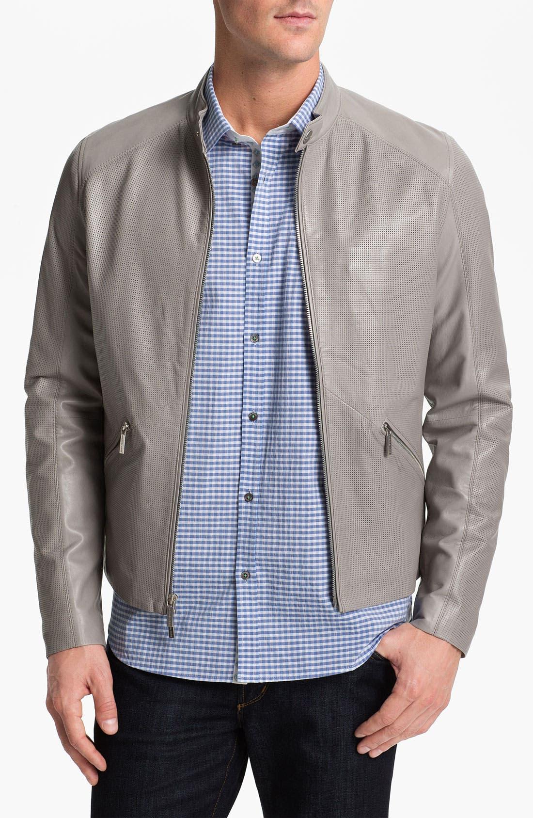 Alternate Image 1 Selected - Michael Kors Leather Moto Jacket