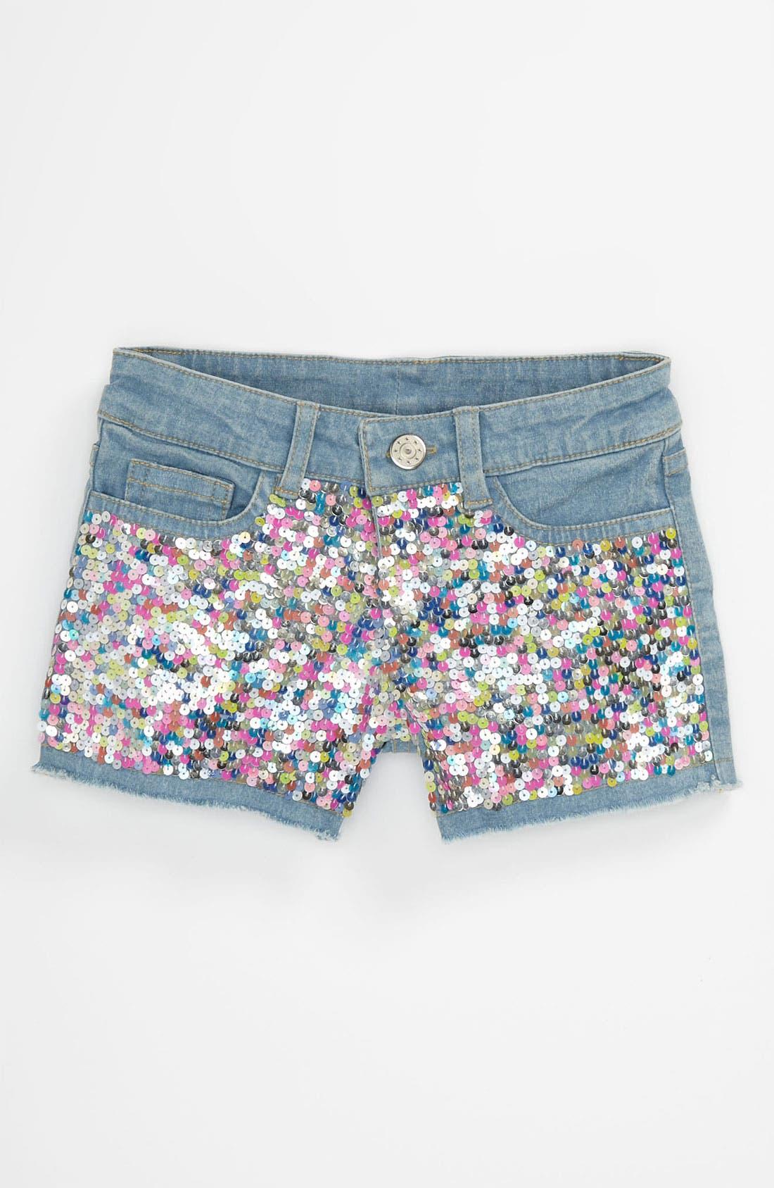 Main Image - Flowers by Zoe Sequin Denim Shorts (Big Girls)