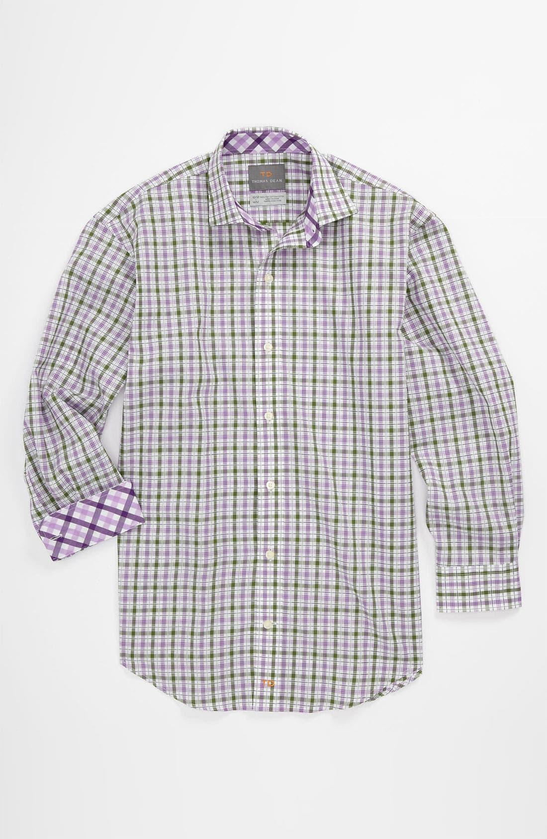 Alternate Image 1 Selected - Thomas Dean Plaid Dress Shirt (Big Boys)