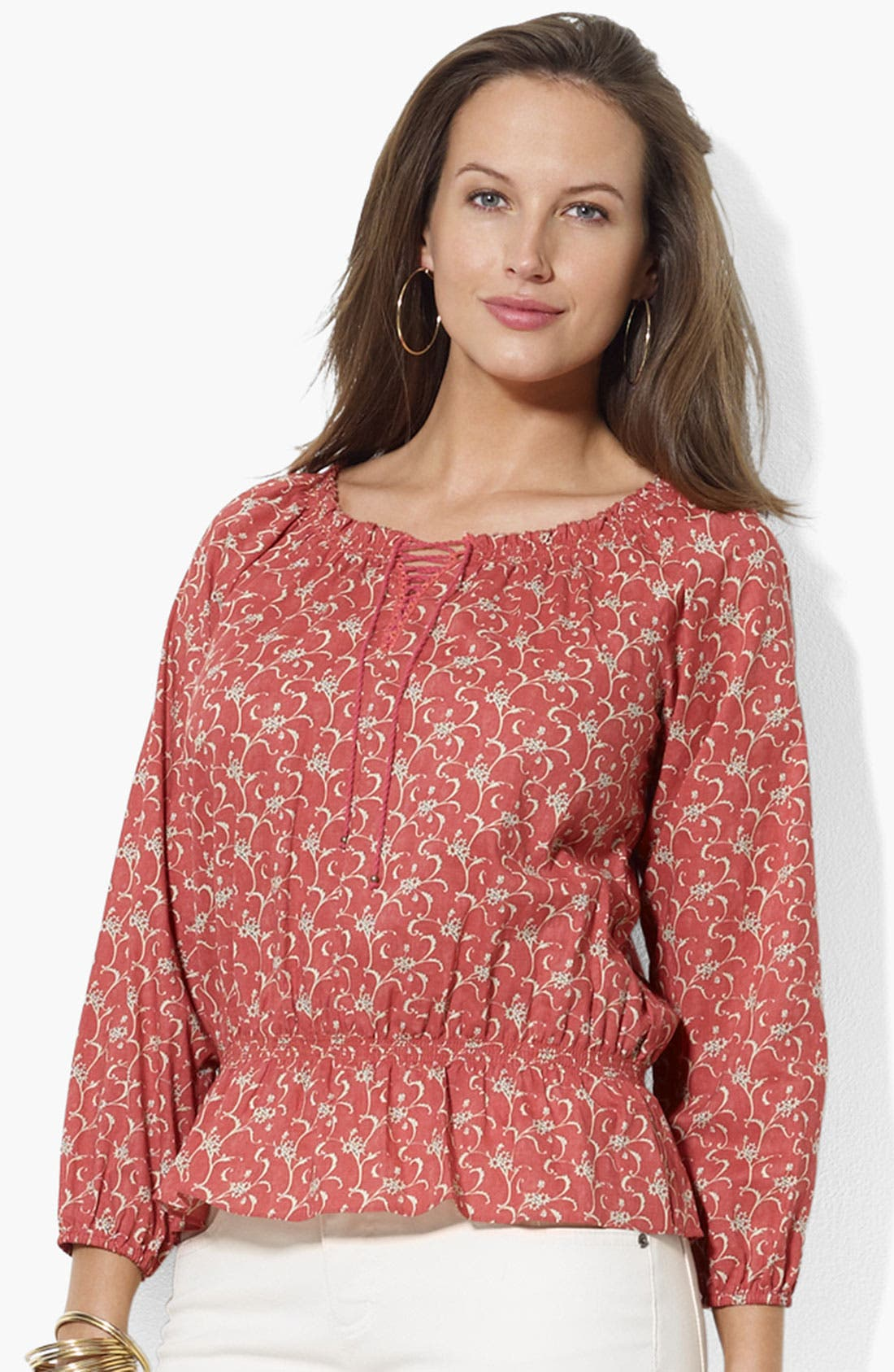 Main Image - Lauren Ralph Lauren Print Lace Up Peasant Top (Plus Size)