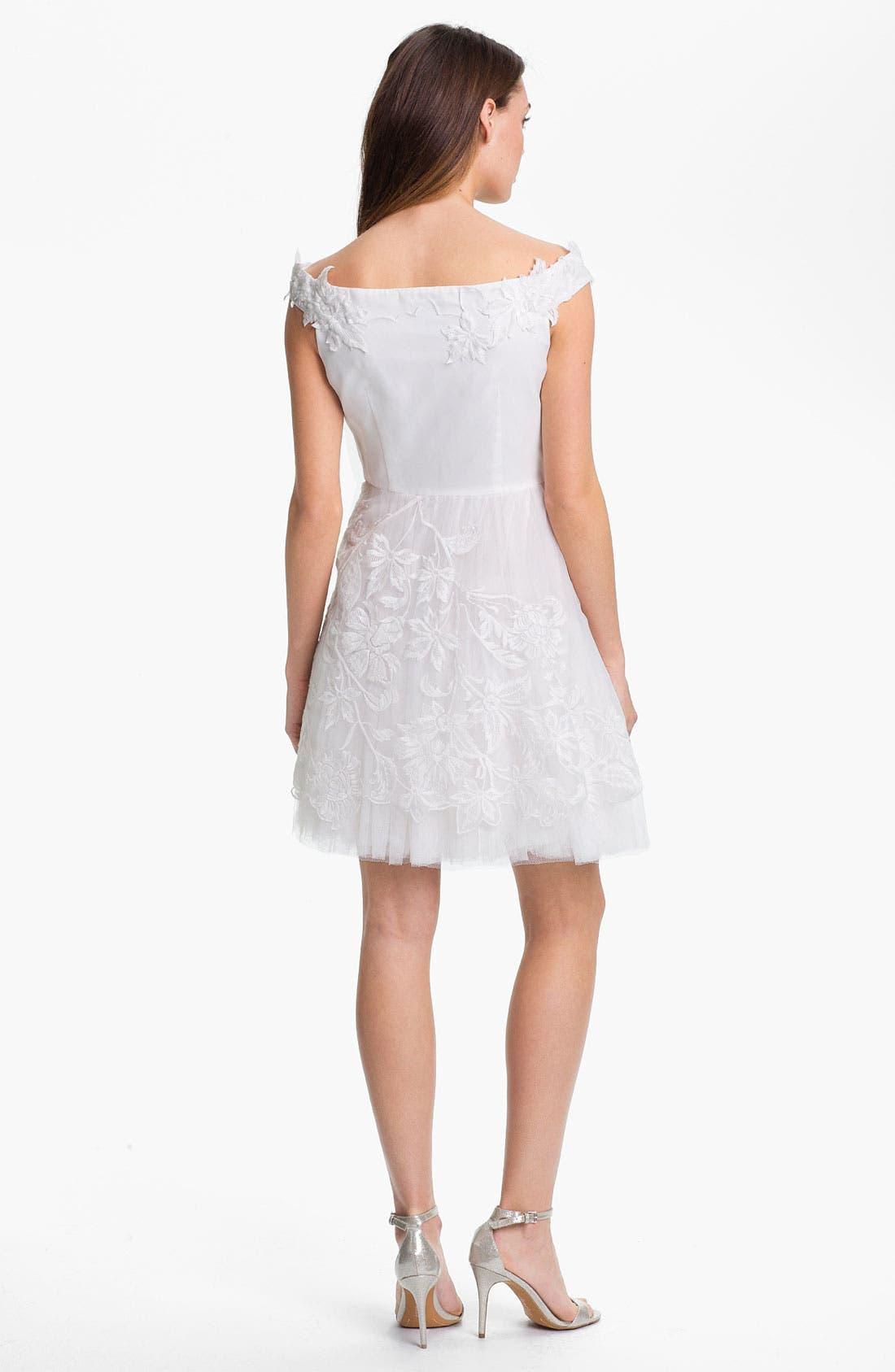 Alternate Image 2  - Adrianna Papell Embroidered Taffeta Fit & Flare Dress