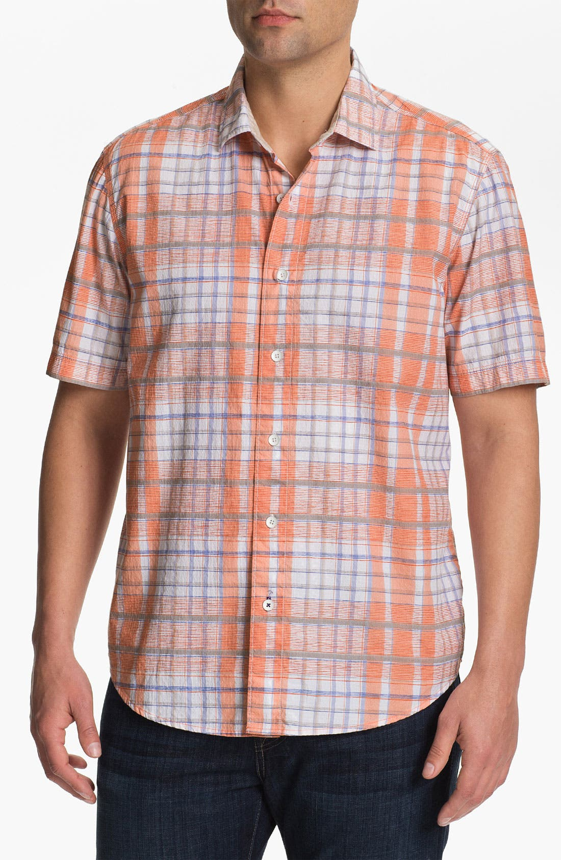 Main Image - Tommy Bahama 'Plaidlantic' Regular Fit Short Sleeve Sport Shirt
