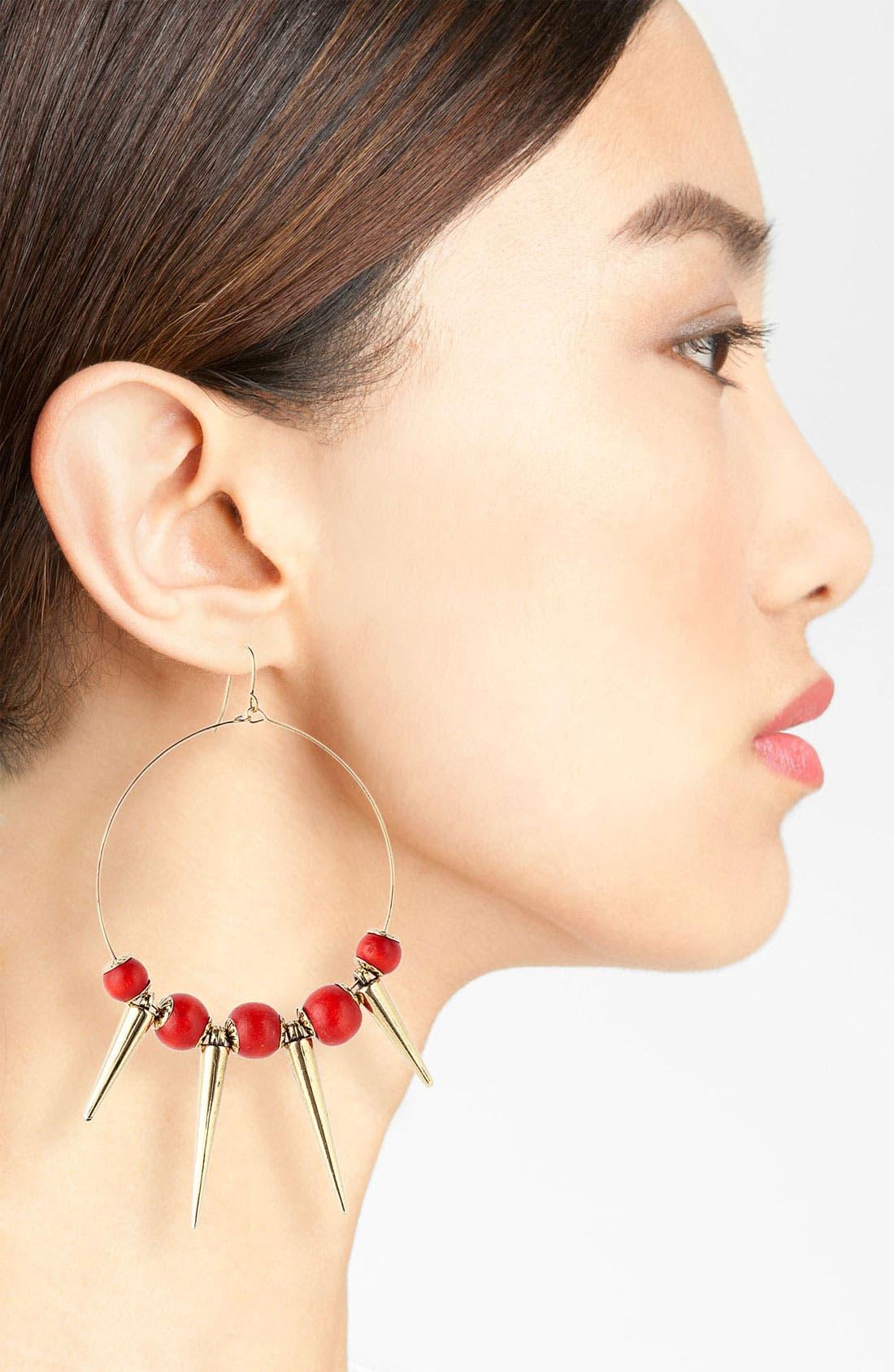 Alternate Image 2  - Spring Street Design Group Wood & Spike Hoop Earrings