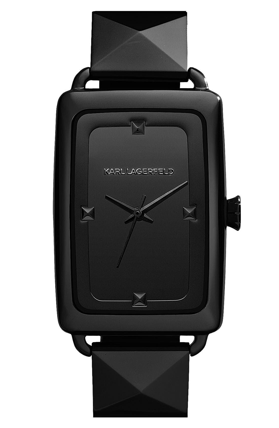 Alternate Image 1 Selected - KARL LAGERFELD 'Kourbe' Rectangular Bracelet Watch, 28mm x 41mm