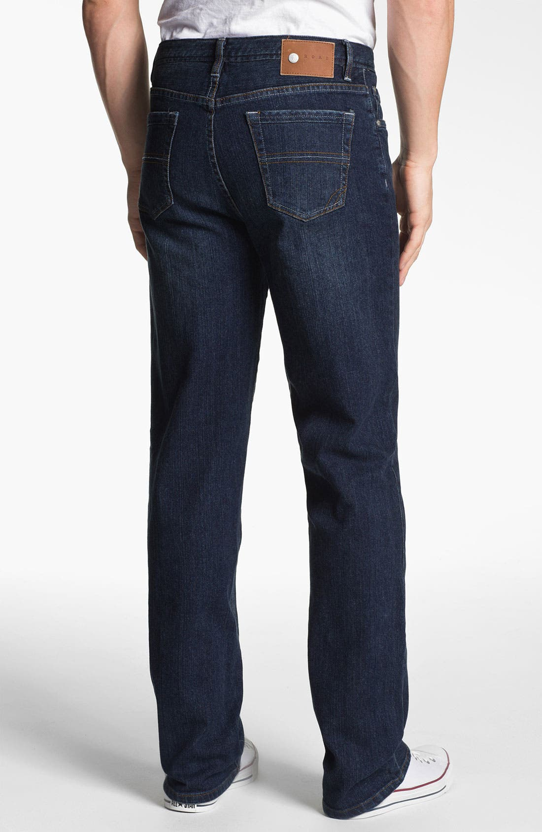 Alternate Image 2  - ROAD 'Abbey Stretch' Relaxed Fit Straight Leg Jeans (Dark Wash)