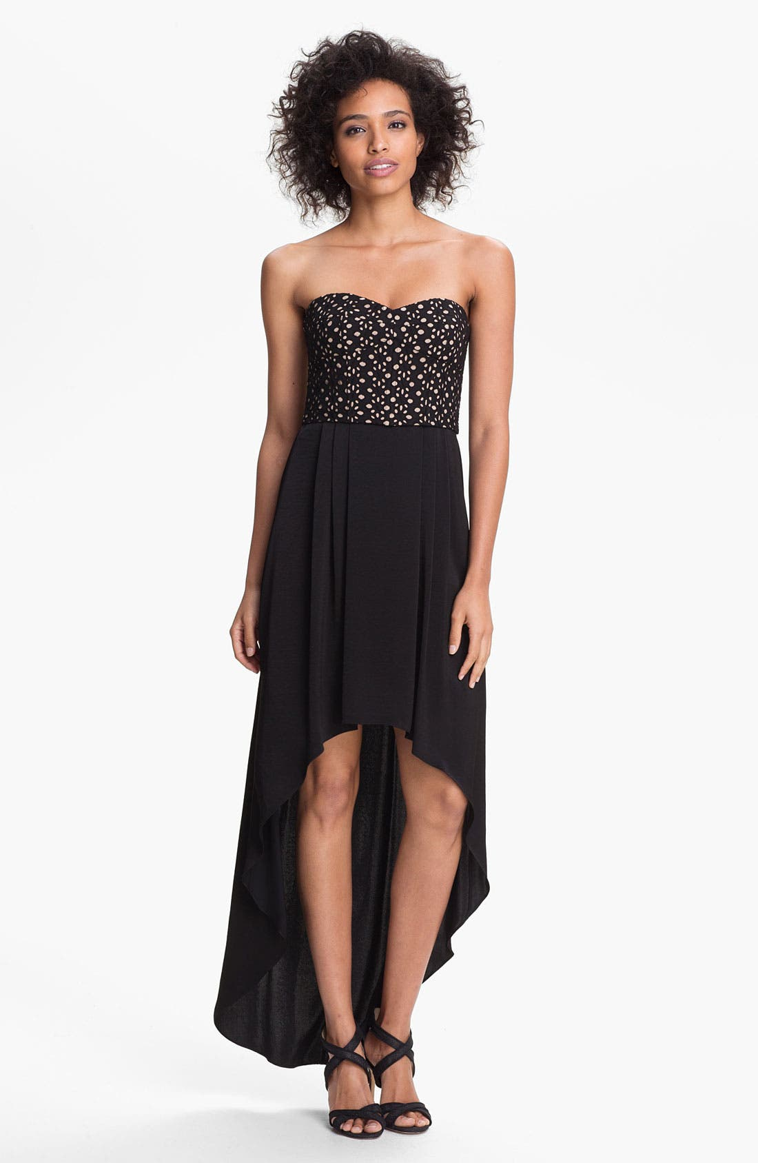 Alternate Image 1 Selected - BCBGMAXAZRIA Eyelet Detail High/Low Dress