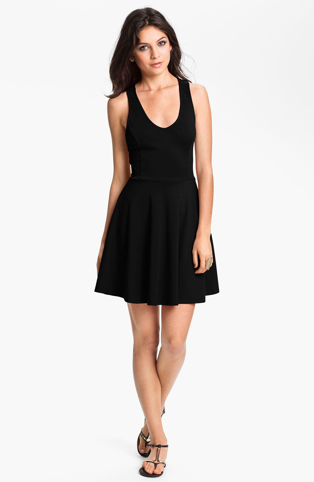 Main Image - Lush Crossback Skater Dress (Juniors)