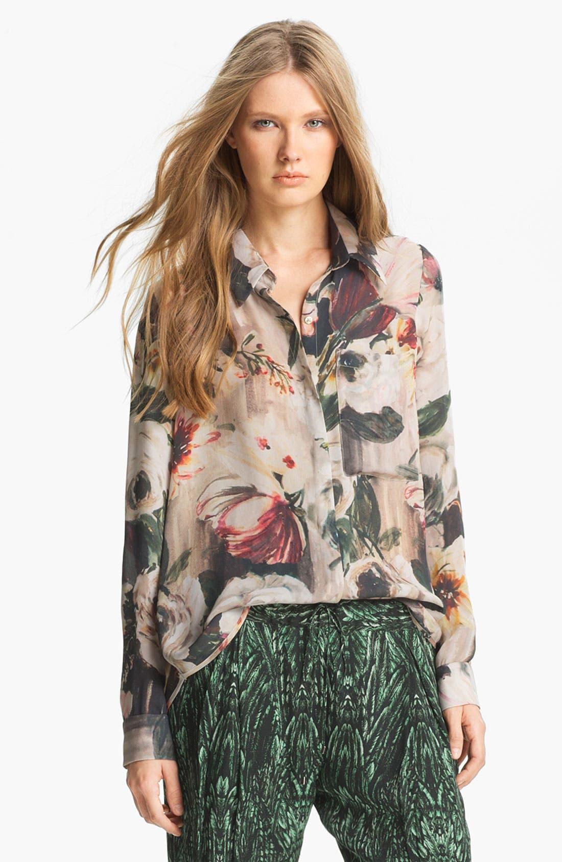 Alternate Image 1 Selected - Haute Hippie Floral Print Silk Blouse