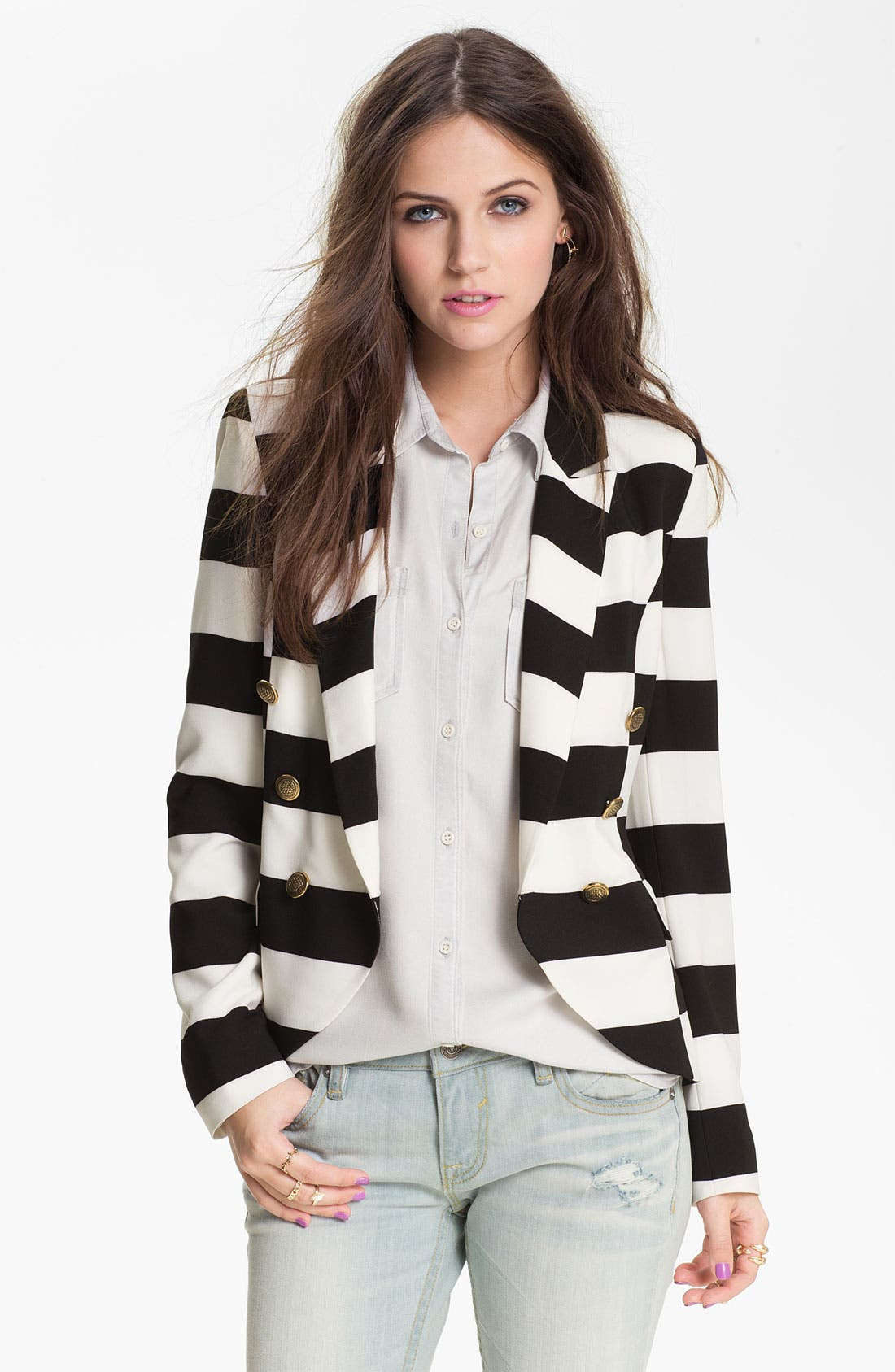 Main Image - B.C.N.U. Stripe Double Breasted Blazer (Juniors)