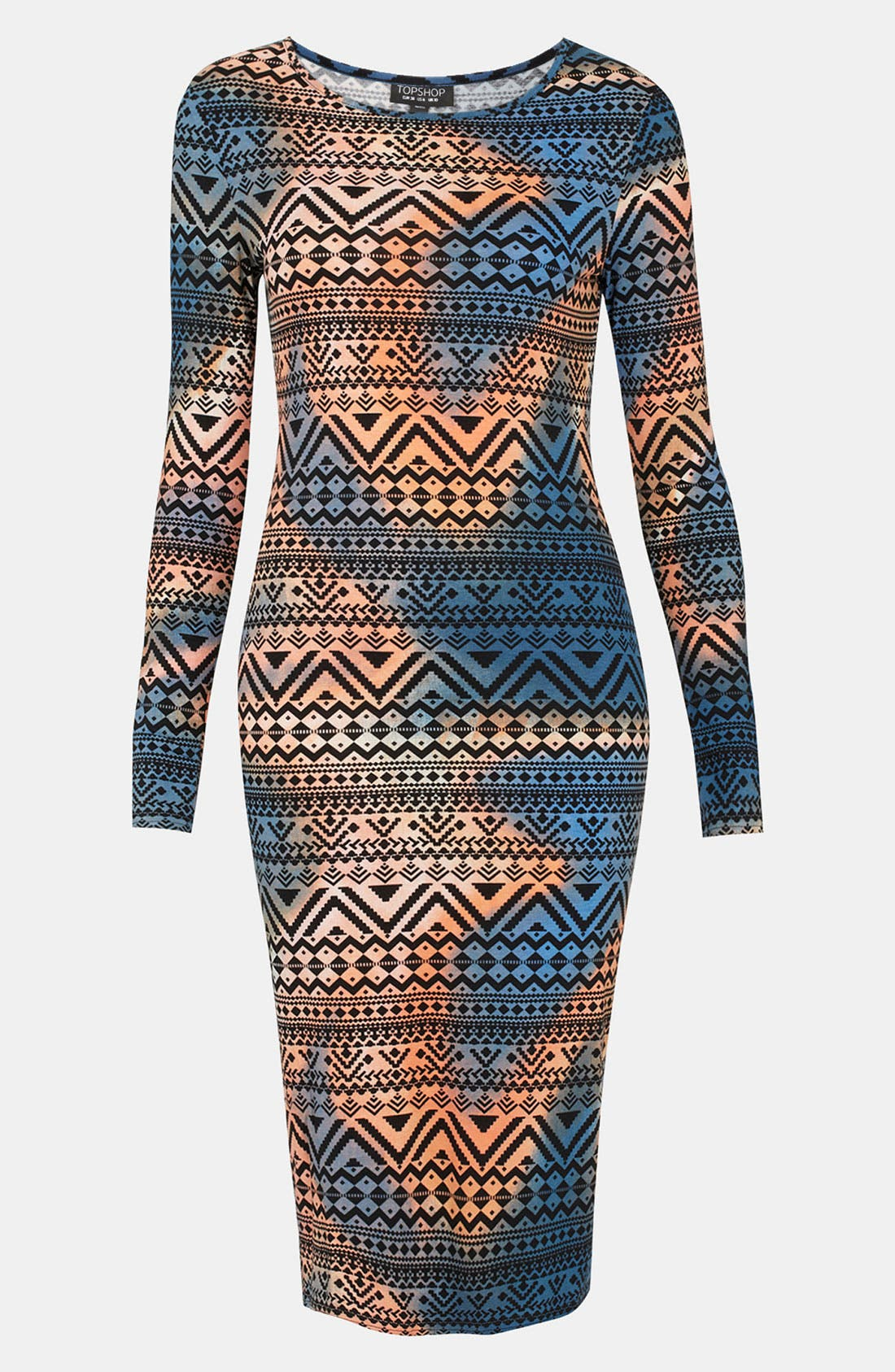 Main Image - Topshop Tie Dyed Aztec Print Body-Con Dress