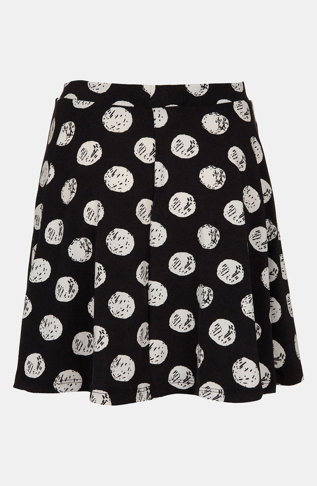 Alternate Image 1 Selected - Topshop Polka Dot Print Skater Skirt (Regular & Petite)