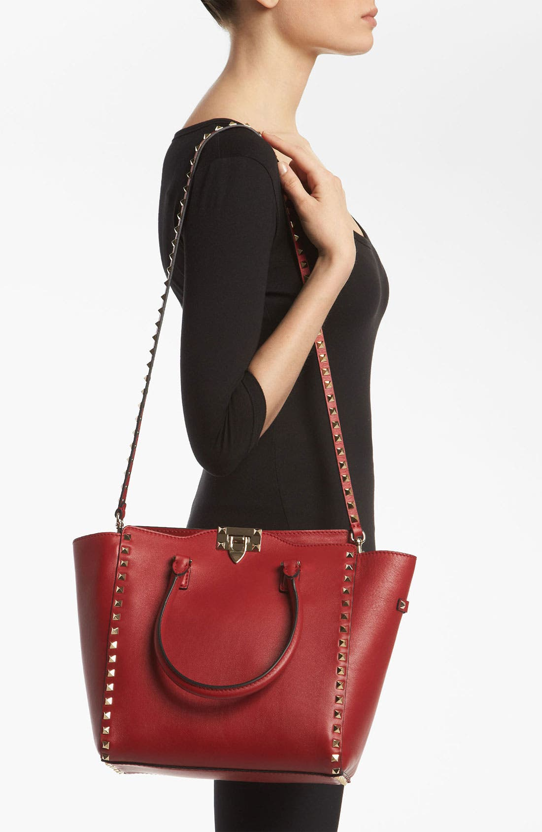 Alternate Image 2  - Valentino 'Rockstud' Double Handle Leather Tote