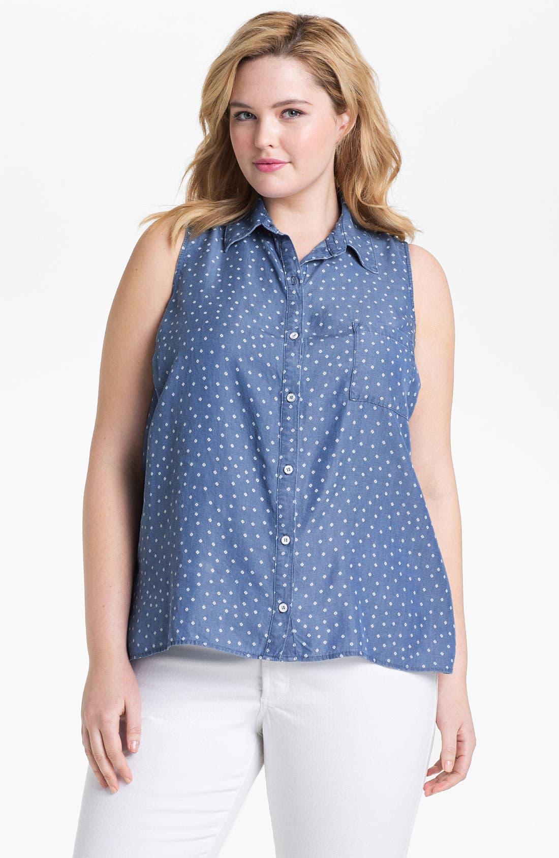 Alternate Image 1 Selected - Splendid 'Ditzy' Polka Dot Chambray Shirt (Plus)