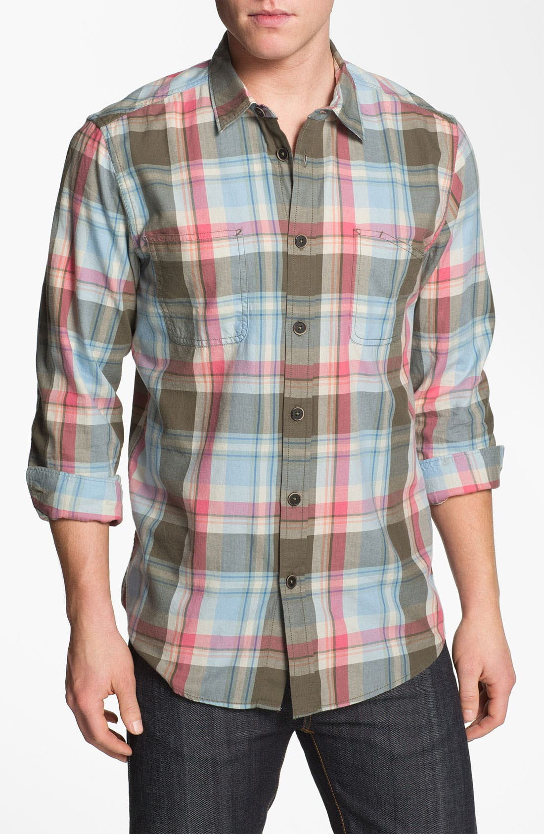 Alternate Image 1 Selected - Ben Sherman Washed Plaid Woven Shirt