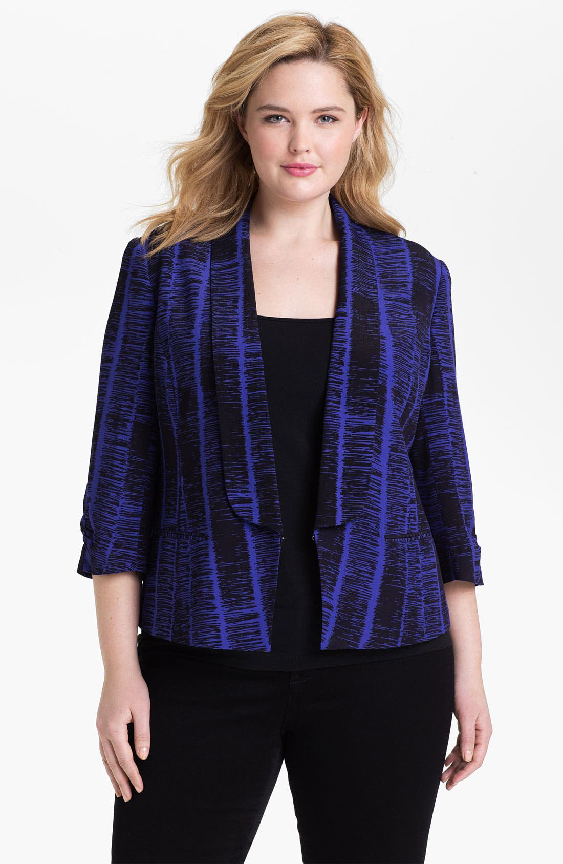 Alternate Image 1 Selected - Sejour Print Tuxedo Jacket (Plus Size)