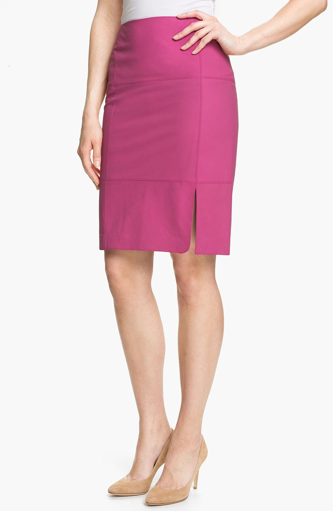 Main Image - Lafayette 148 New York Slim Lambskin Skirt