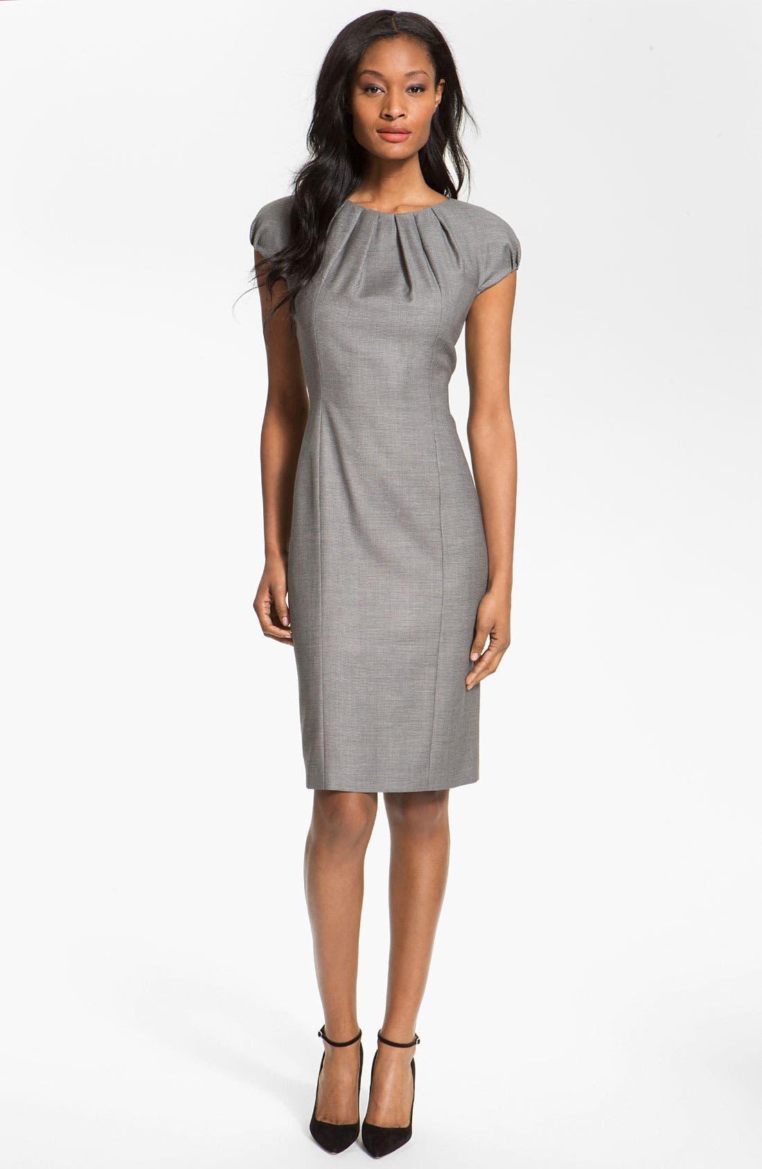 Alternate Image 1 Selected - BOSS Black 'Denna' Stretch Wool Blend Dress