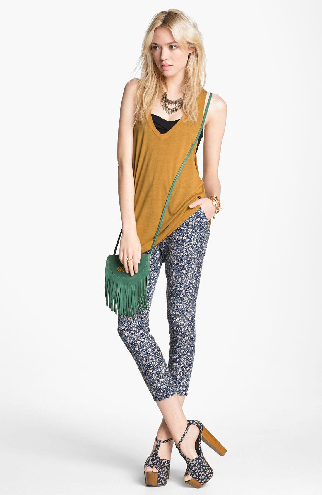 Alternate Image 2  - Lucca Couture Floral Crop Pants