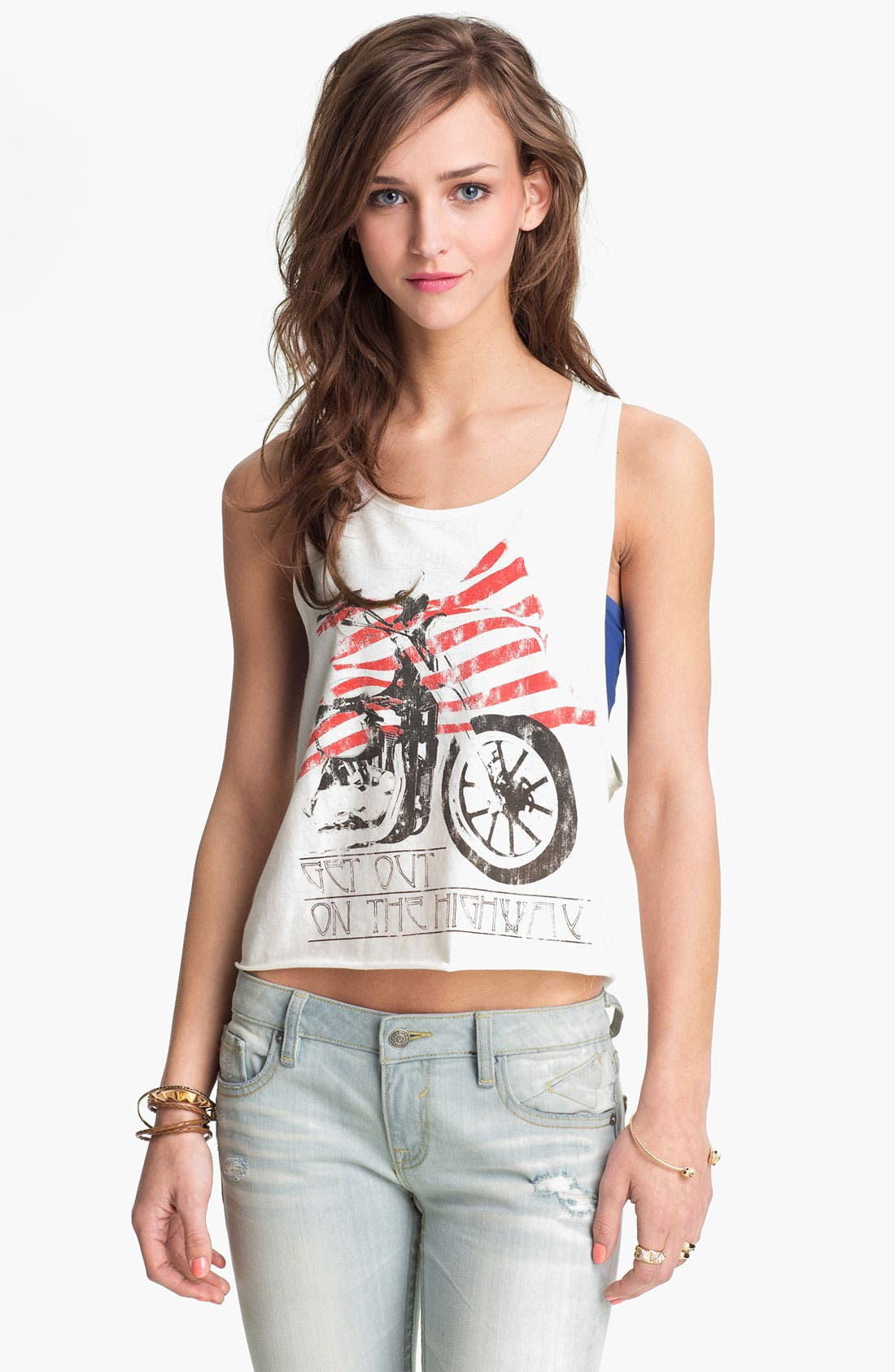 Main Image - Recycled Karma 'Motorcycle' Graphic Tank (Juniors)