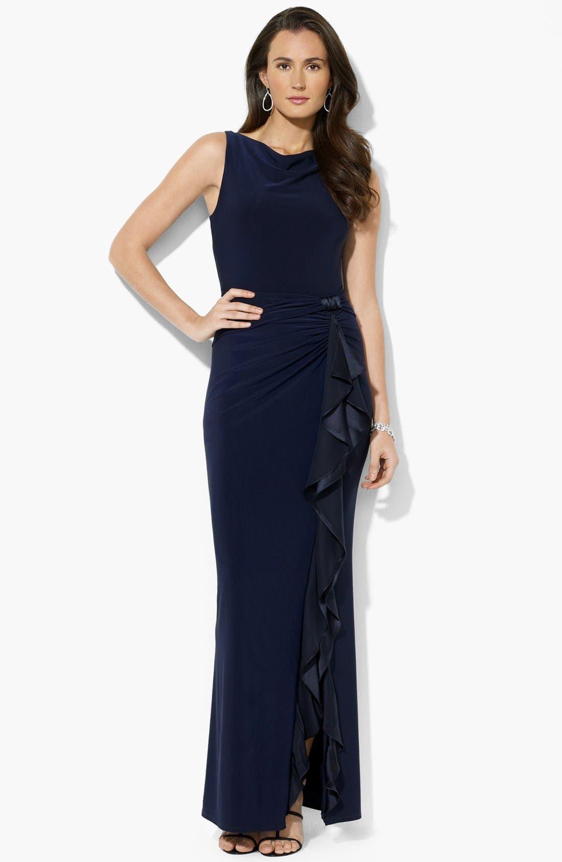 Main Image - Lauren Ralph Lauren Ruffled Matte Jersey Gown