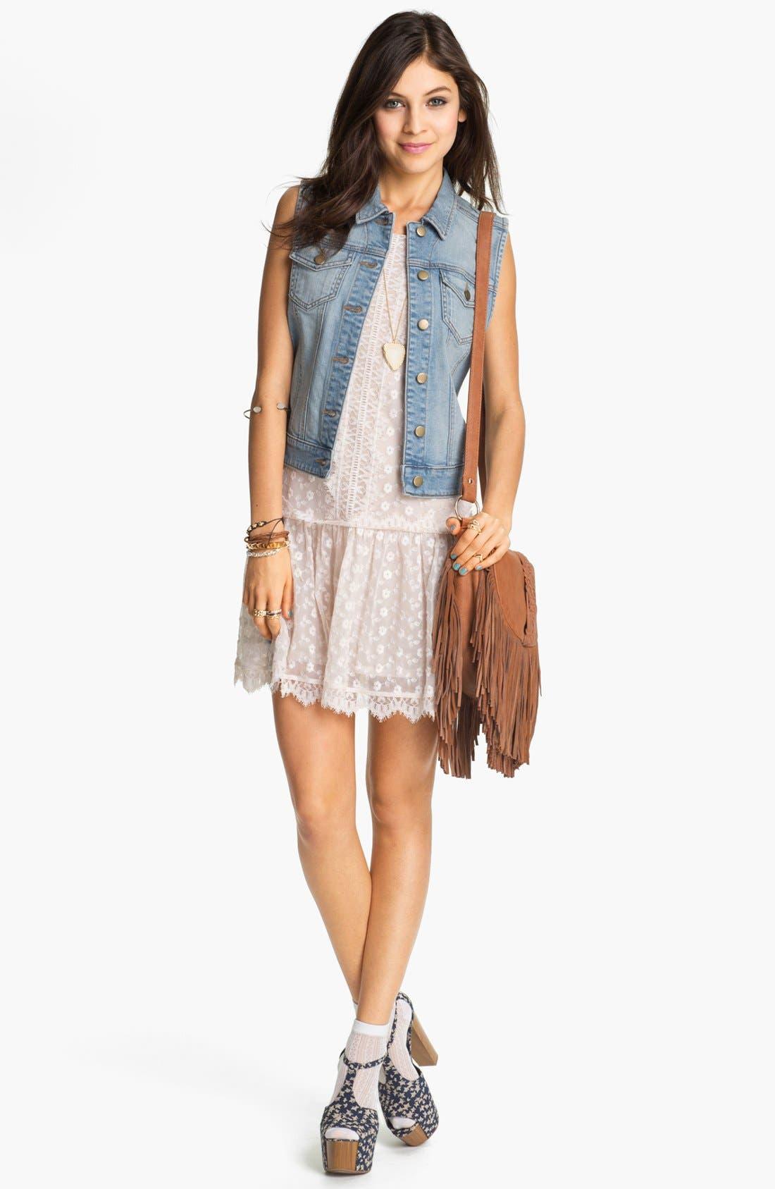Alternate Image 2  - Fire Drop Waist Lace Dress (Juniors)