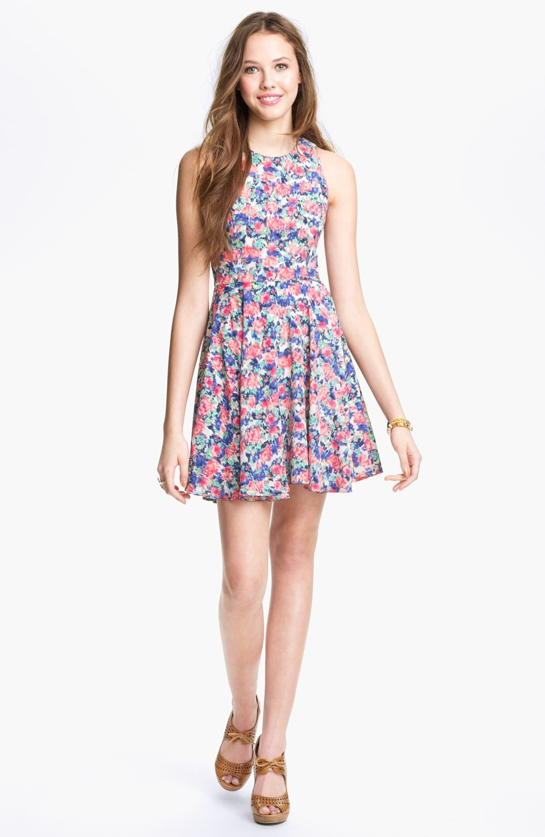 Alternate Image 1 Selected - dee elle Print Skater Dress (Juniors)