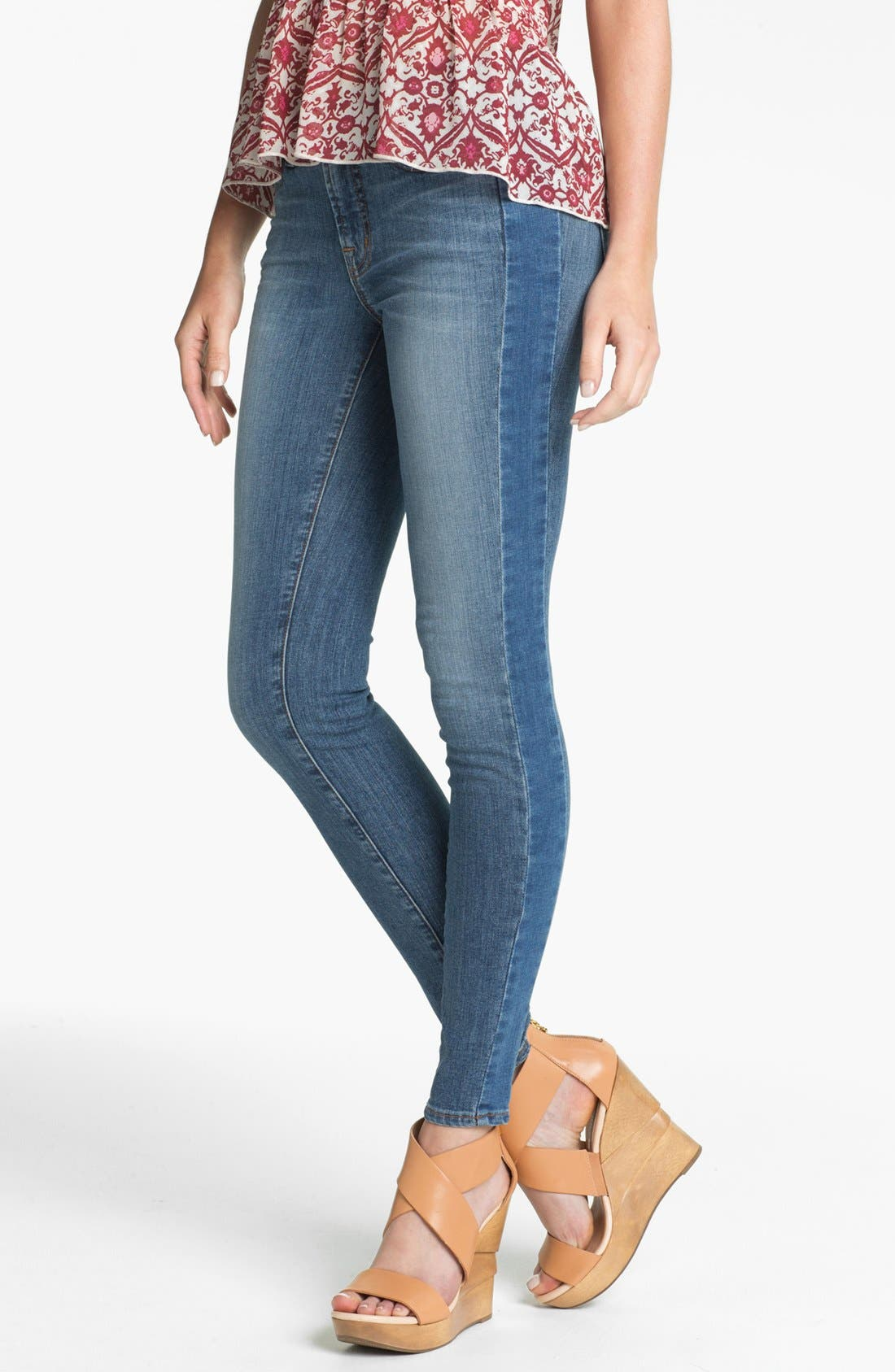 Main Image - J Brand Two-Tone Tux Stripe Skinny Jeans (Bliss)