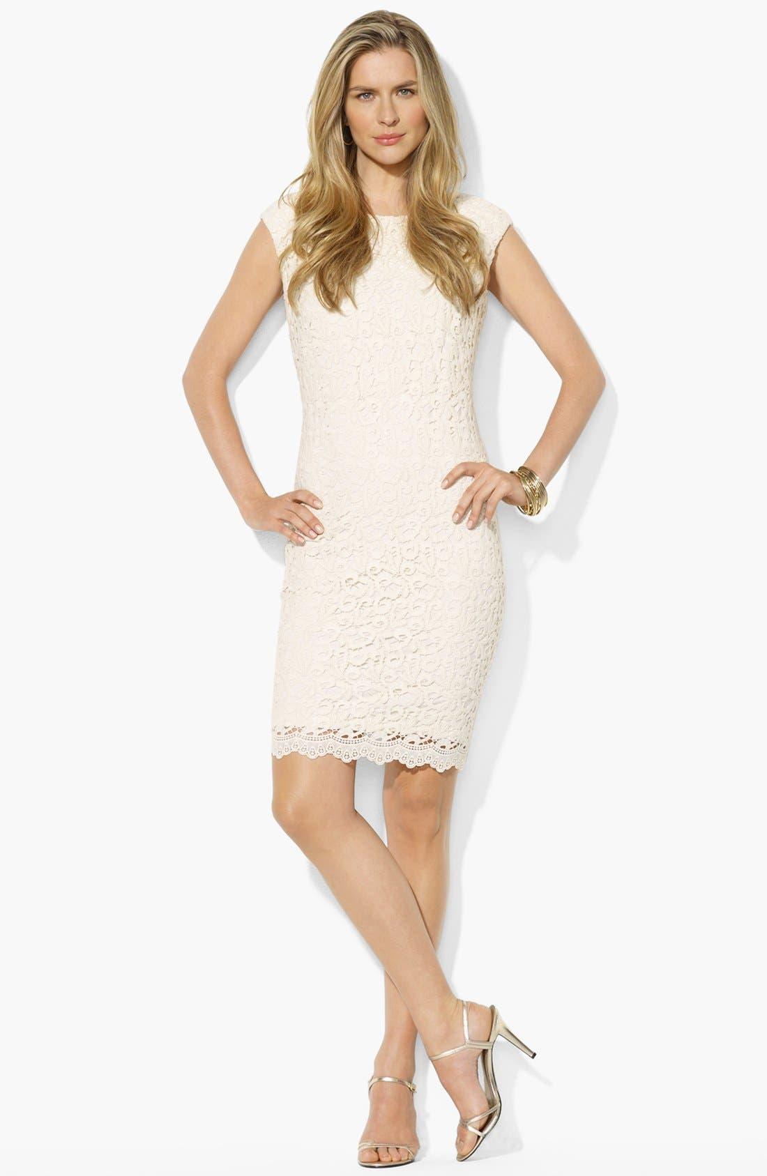 Main Image - Lauren Ralph Lauren Lace Cotton Sheath Dress