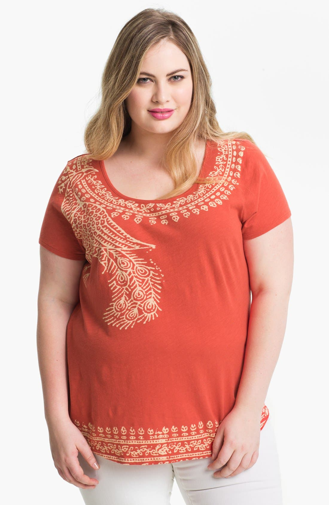 Alternate Image 1 Selected - Lucky Brand Print Cotton Tee (Plus Size)