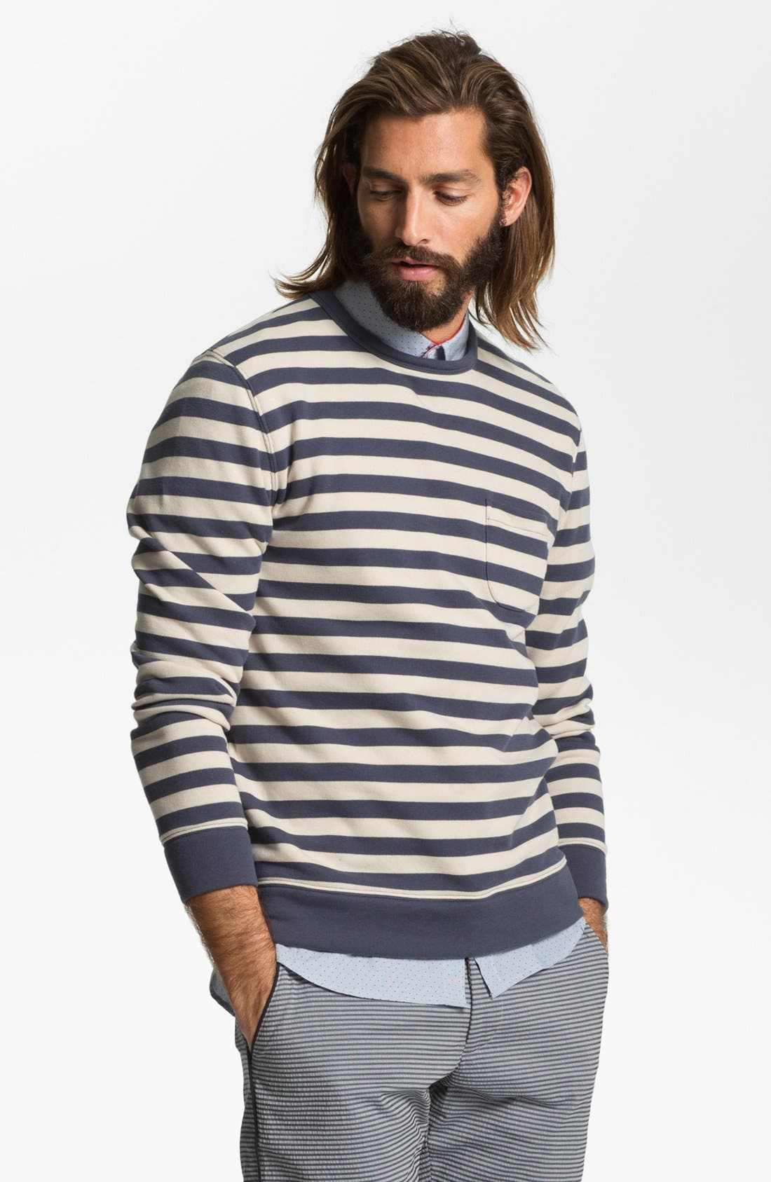 Alternate Image 1 Selected - Obey 'Dano' Stripe Crewneck Sweatshirt
