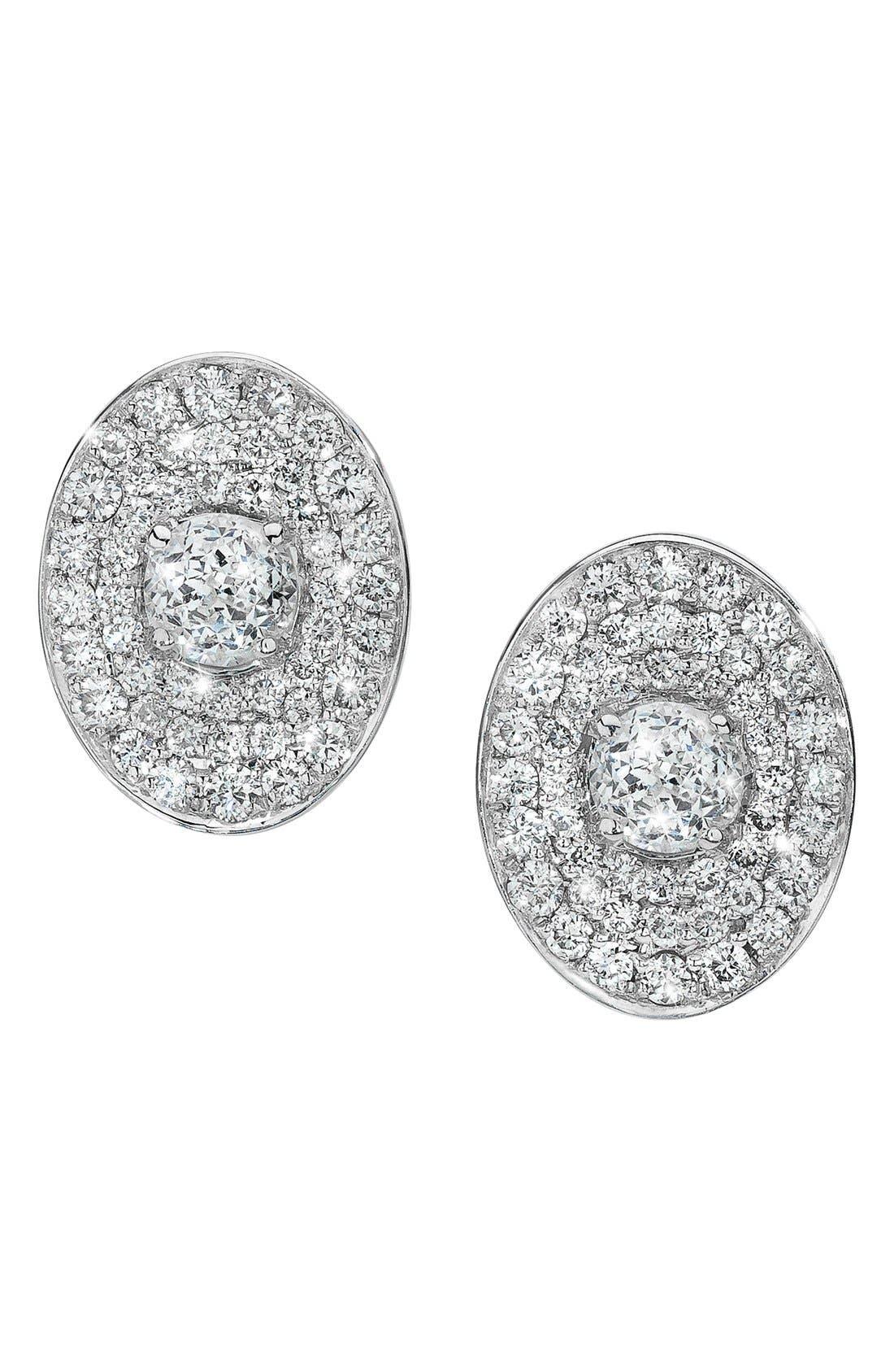 Main Image - Ivanka Trump 'Signature' Oval Pavé Diamond Stud Earrings