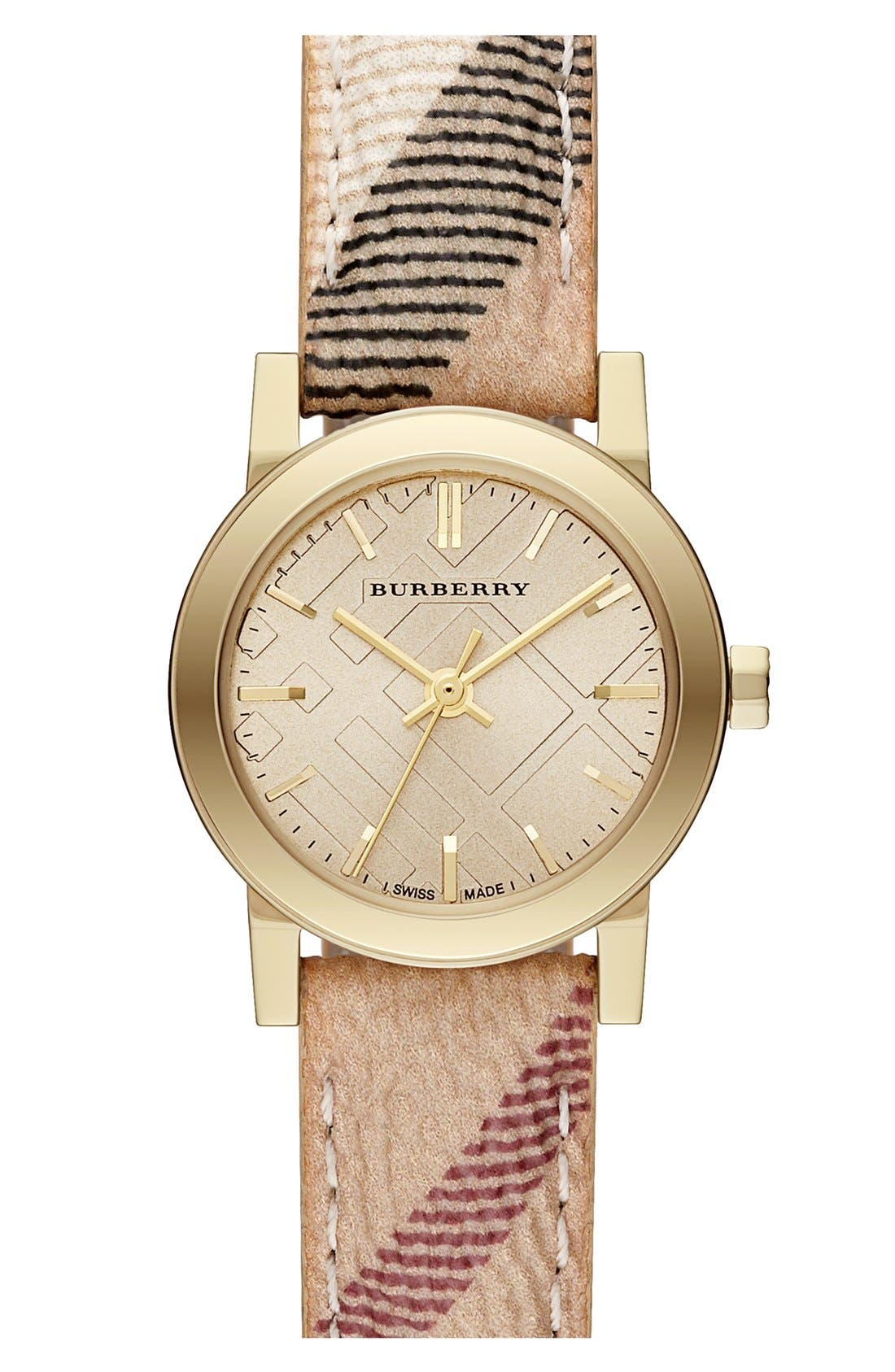 Main Image - Burberry Small Check Strap Watch, 26mm