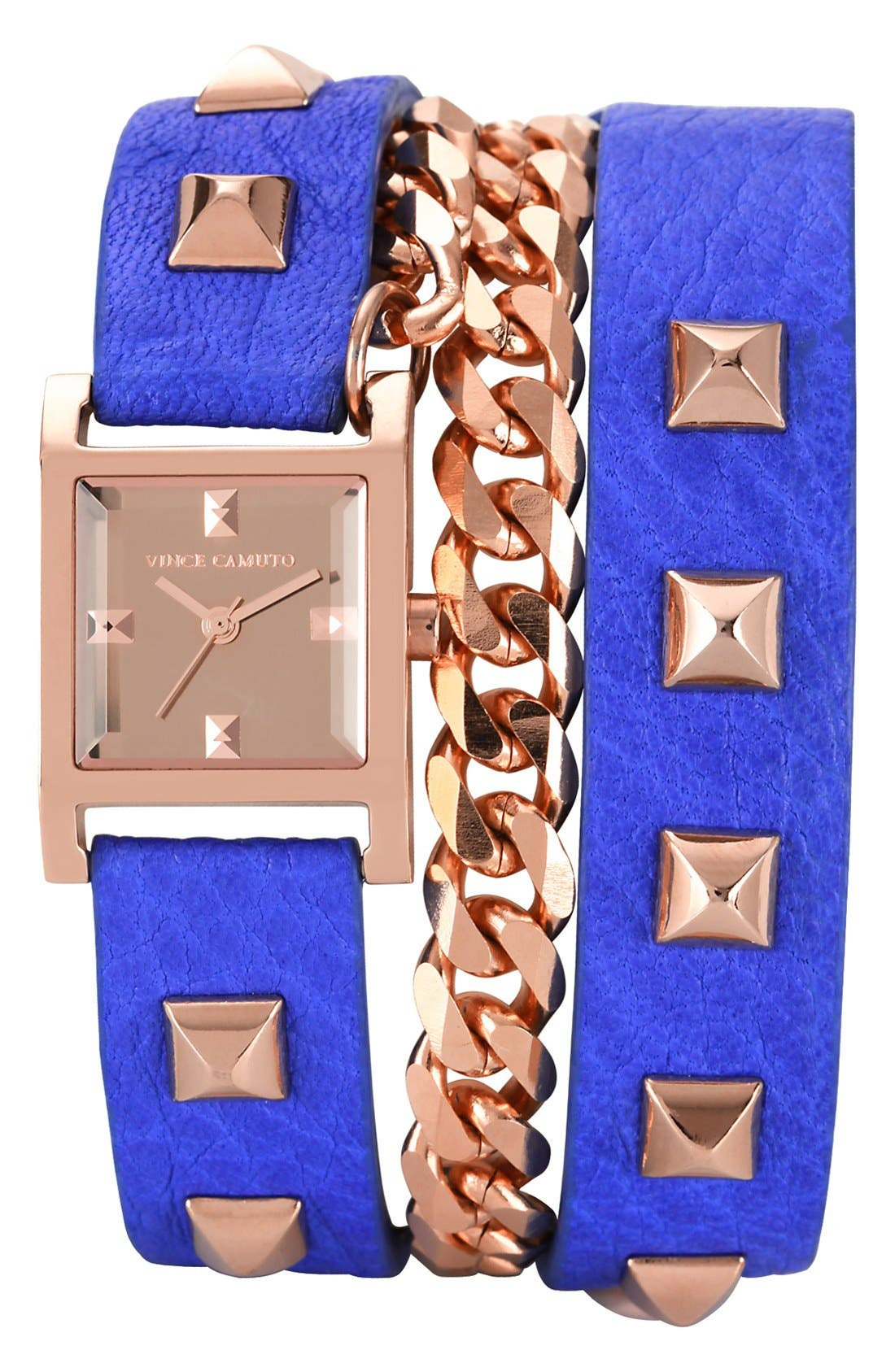 Main Image - Vince Camuto Double Wrap Chain & Leather Strap Watch, 21mm