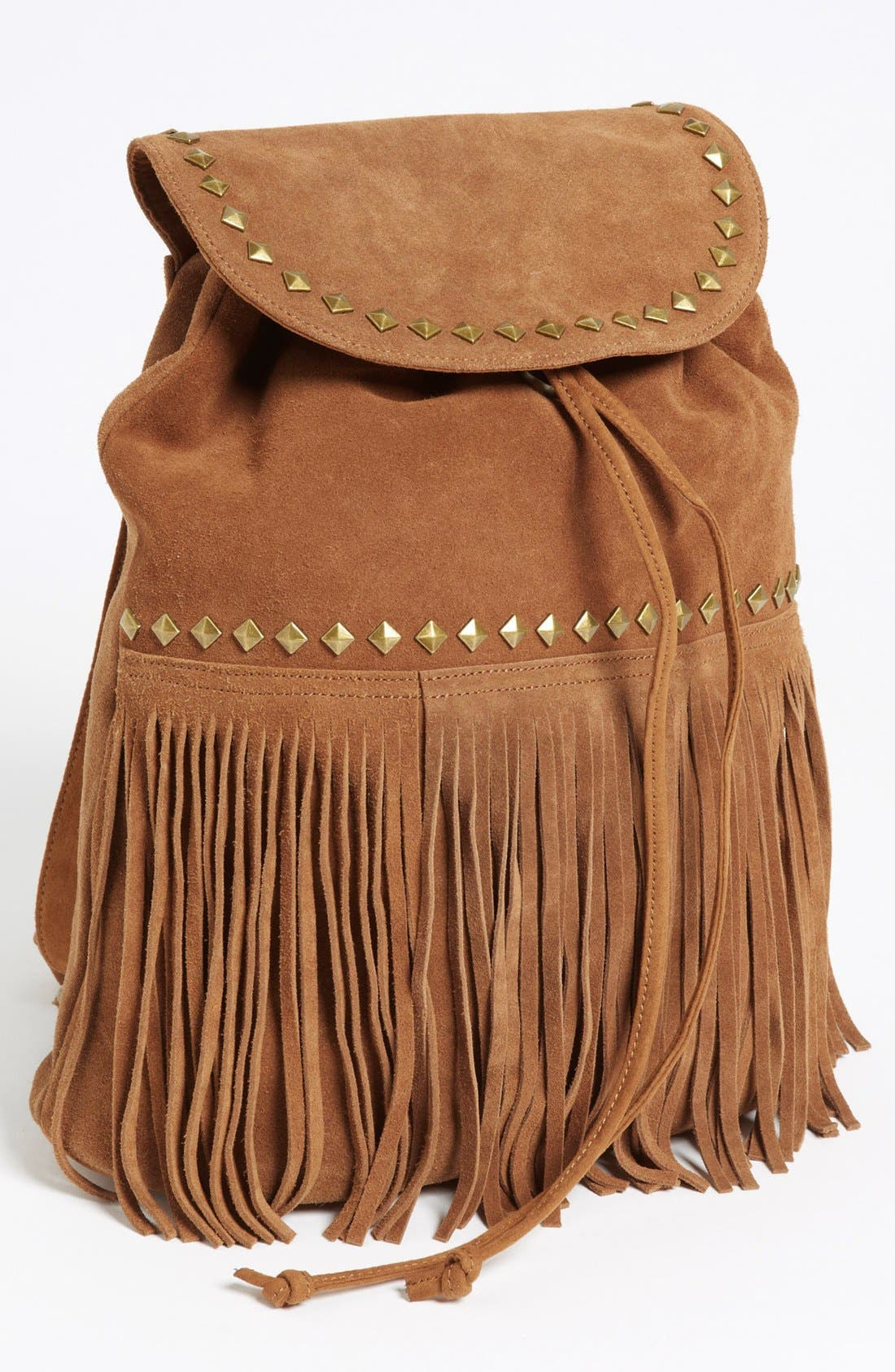 Alternate Image 1 Selected - Steve Madden Fringed Suede Backpack (Juniors)